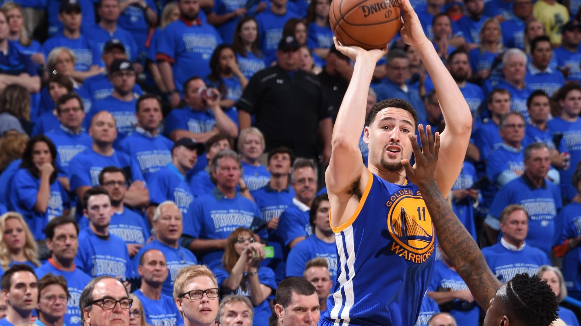 1920x1080 Klay Thompson hits playoff-record 11 3s, says he should've had more