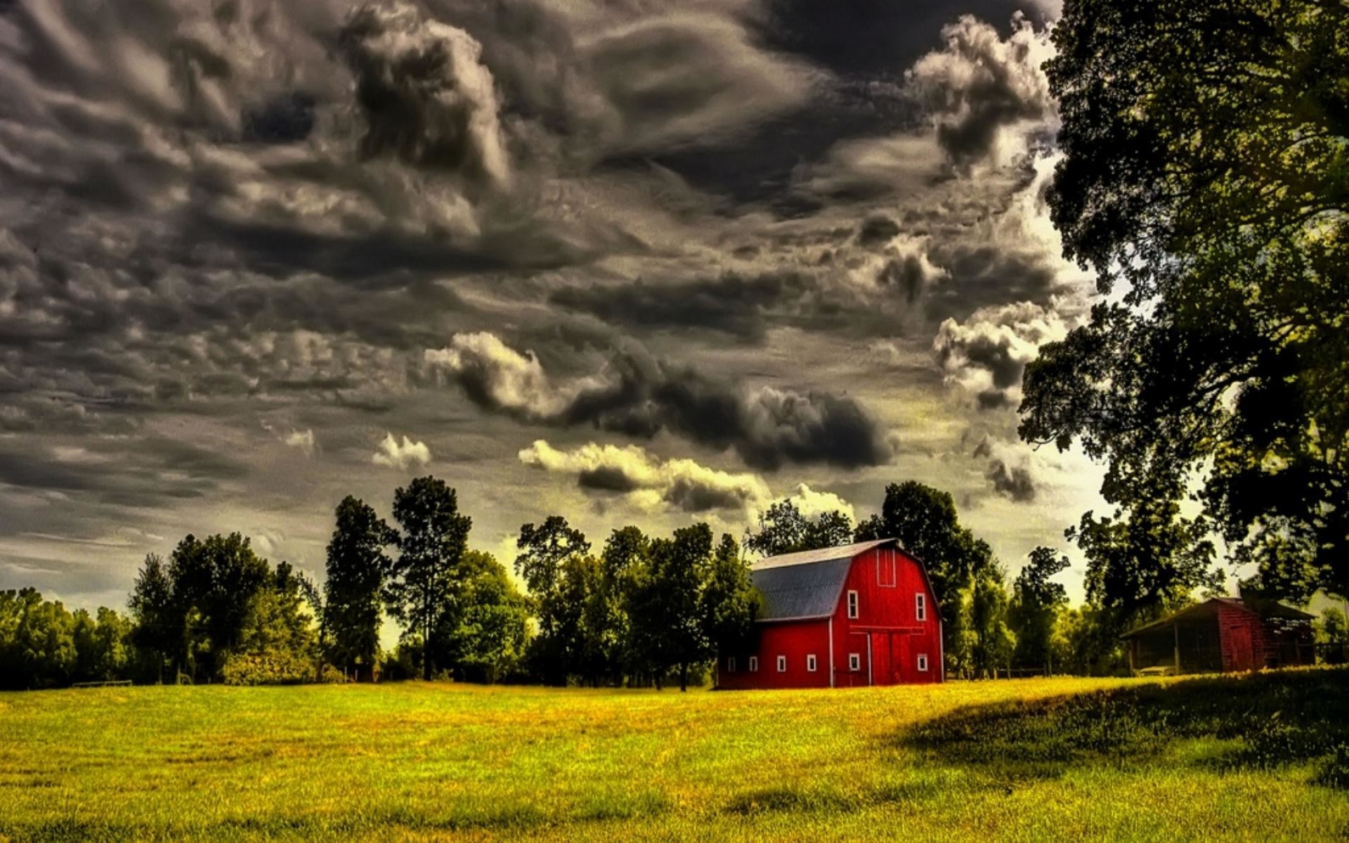 1920x1200 red barn under stormy clouds hdr wallpaper | nature and landscape