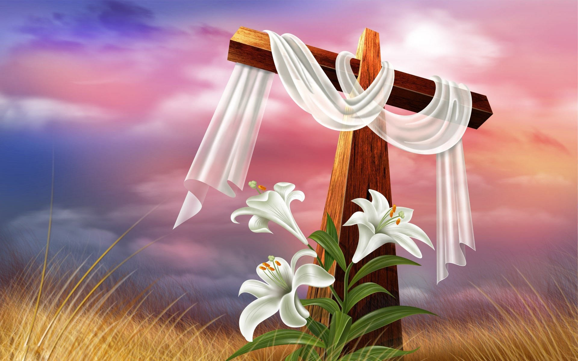1920x1200 Cross And Lilies 215372