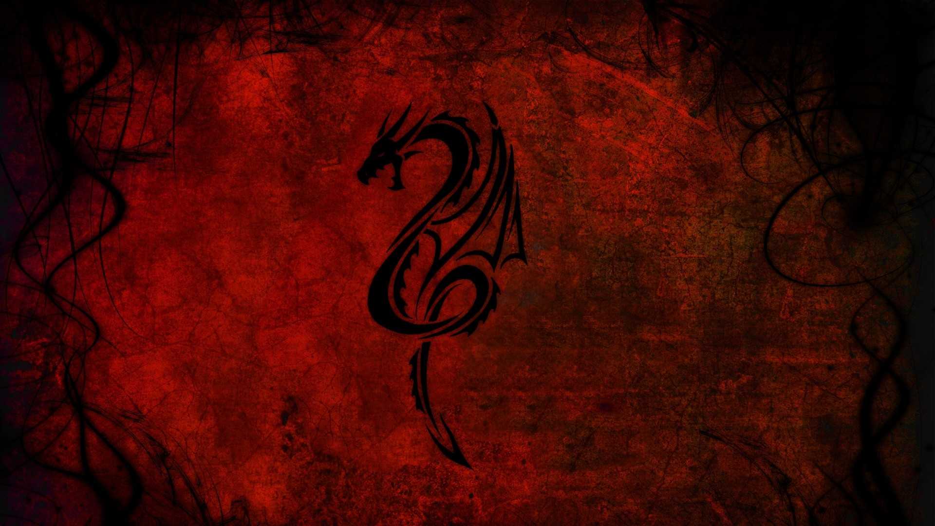1920x1080 Preview wallpaper dragon, pattern, red, black