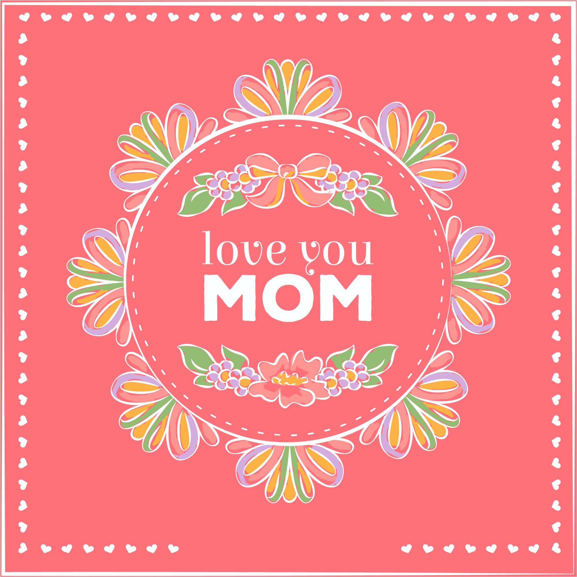 2000x2000 Love You Mom happy Mother's Day Greeting card Design Vector & Wallpaper