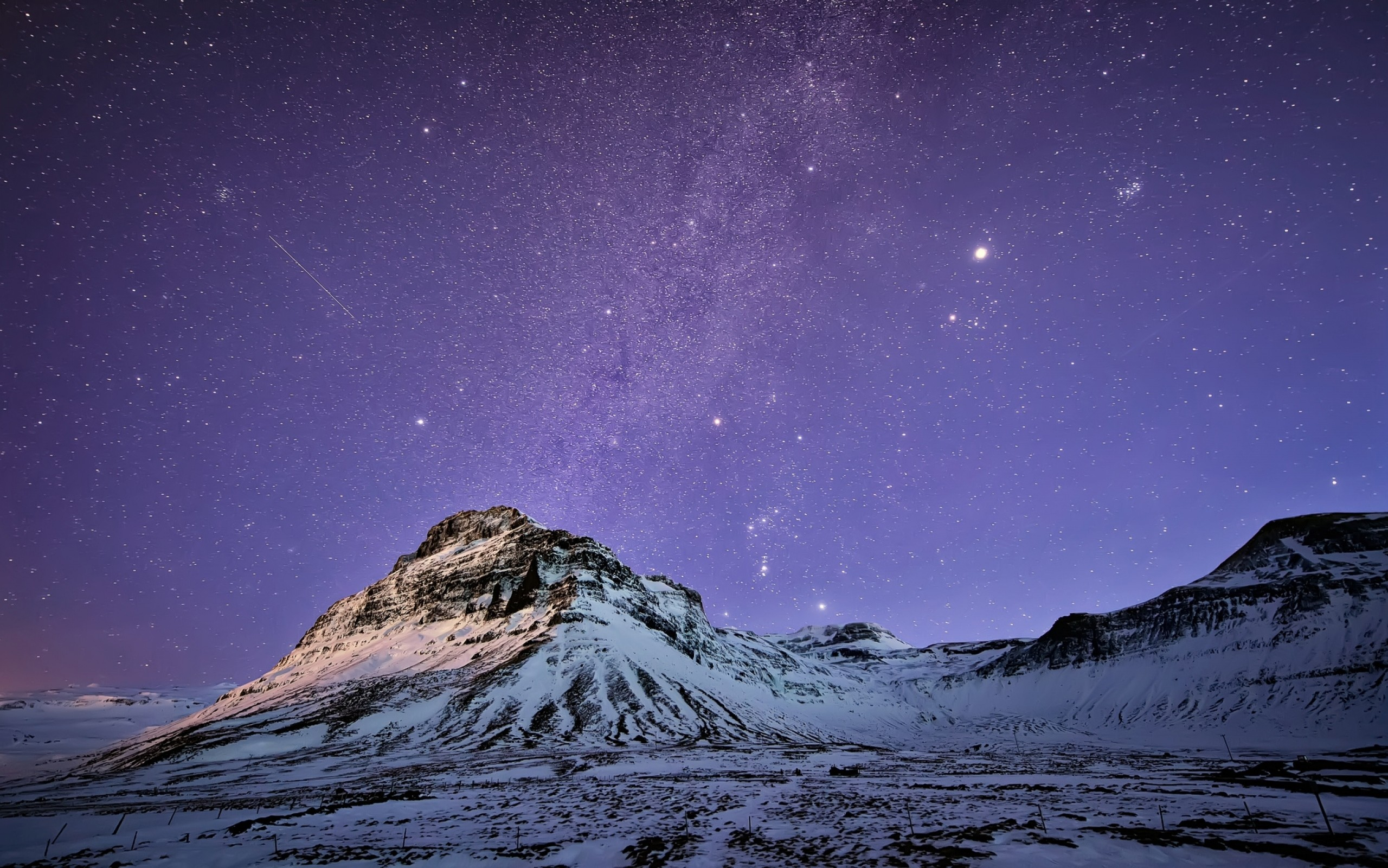 2560x1600 Preview wallpaper iceland, mountains, snow, night, lilac, sky, stars,