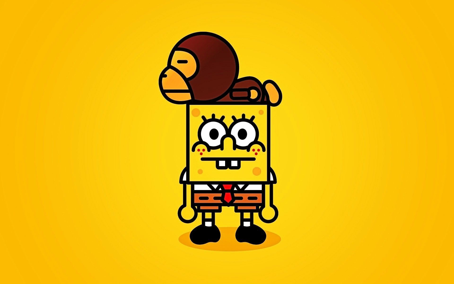 1920x1200 Funny Wallpaper SpongeBob and Monkey