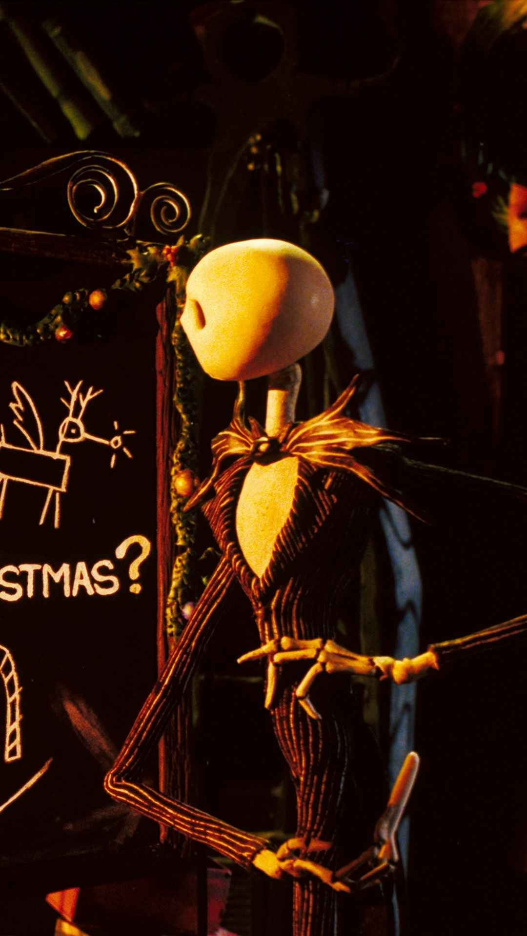 1080x1920 Formula Chalkboard 2014 Halloween Jack Skellington iPhone 6 Wallpaper - Nightmare  Before Christmas Movie #2014