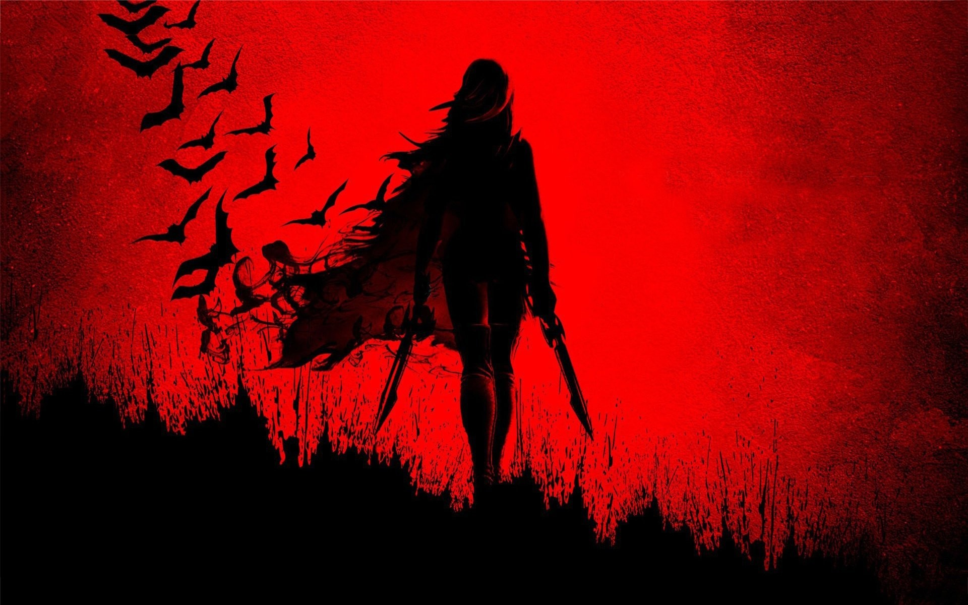 X Blade Girl Shadow Wide Red Sword Anime Wallpaper X