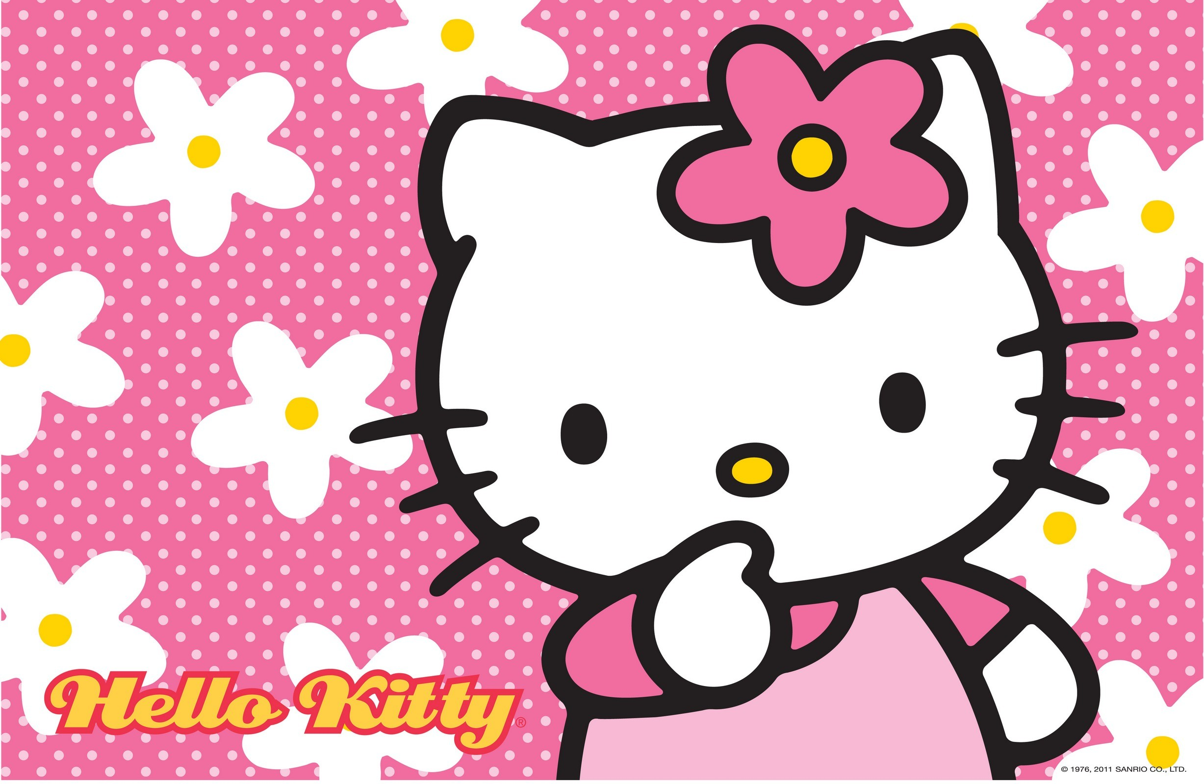 2455x1600 Hello Kitty Wallpaper with Floral Pink Background