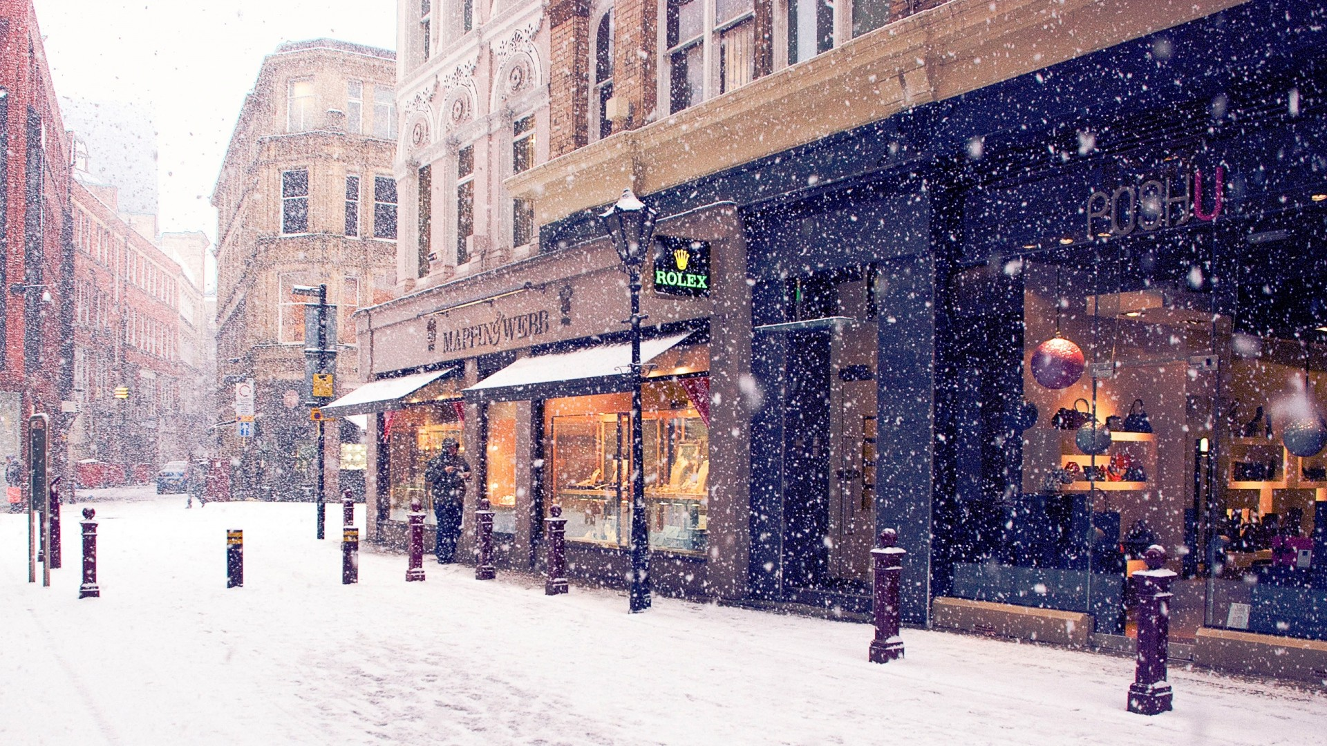 1920x1080 Snow City Wallpaper
