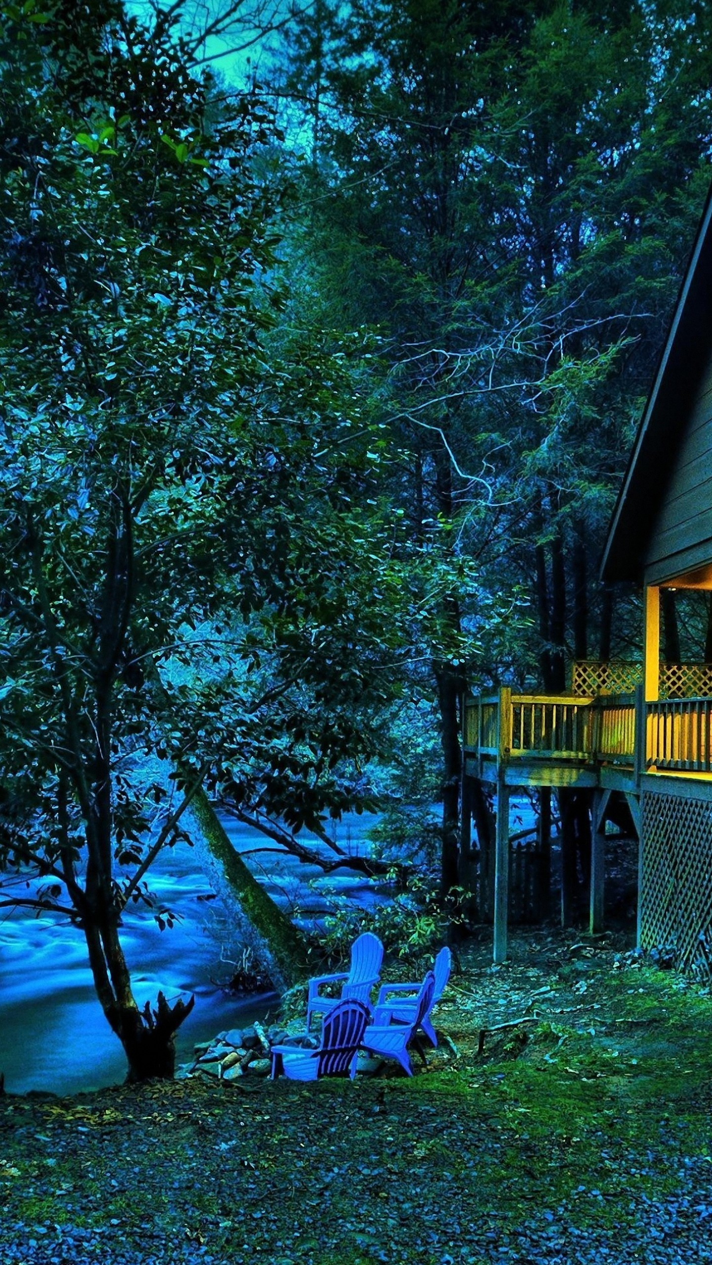1440x2560 download star light river twilight house tree wallpaper for lg g4
