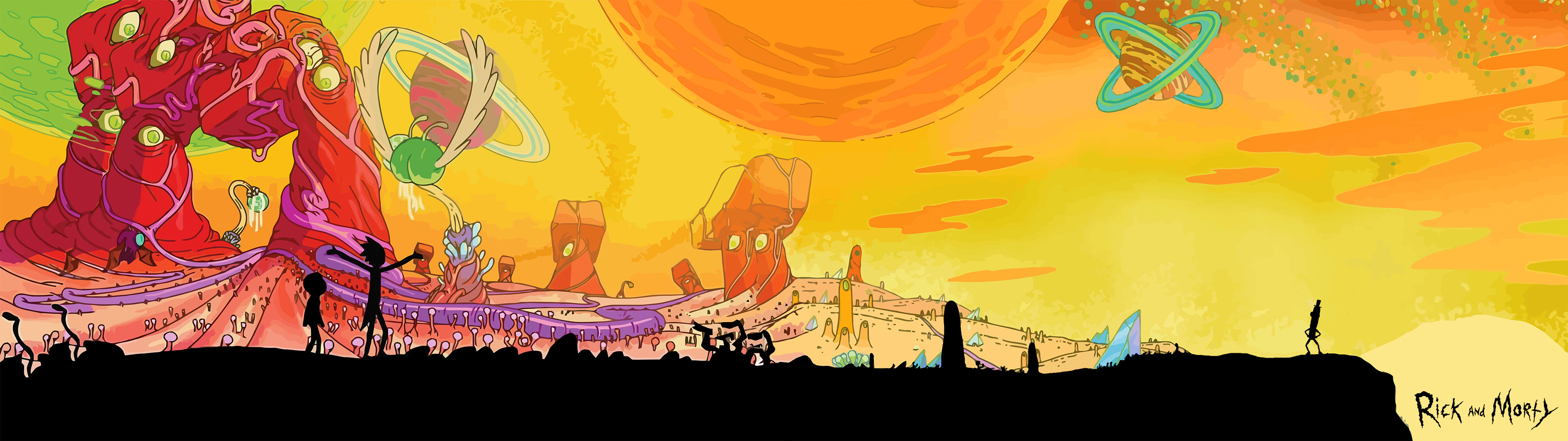 3840x1080 []Rick and Morty Dual Screen wallpaperDual ...