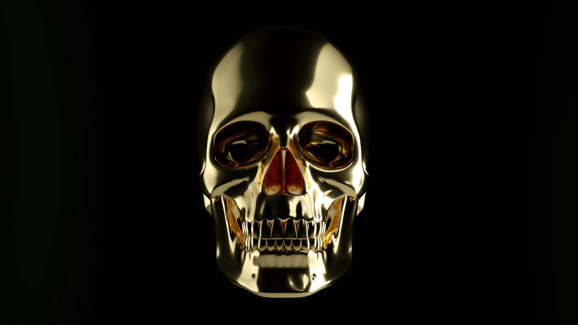 1920x1080 Golden skull appearing from the dark. black background with alpha channel  Motion Background - Storyblocks Video