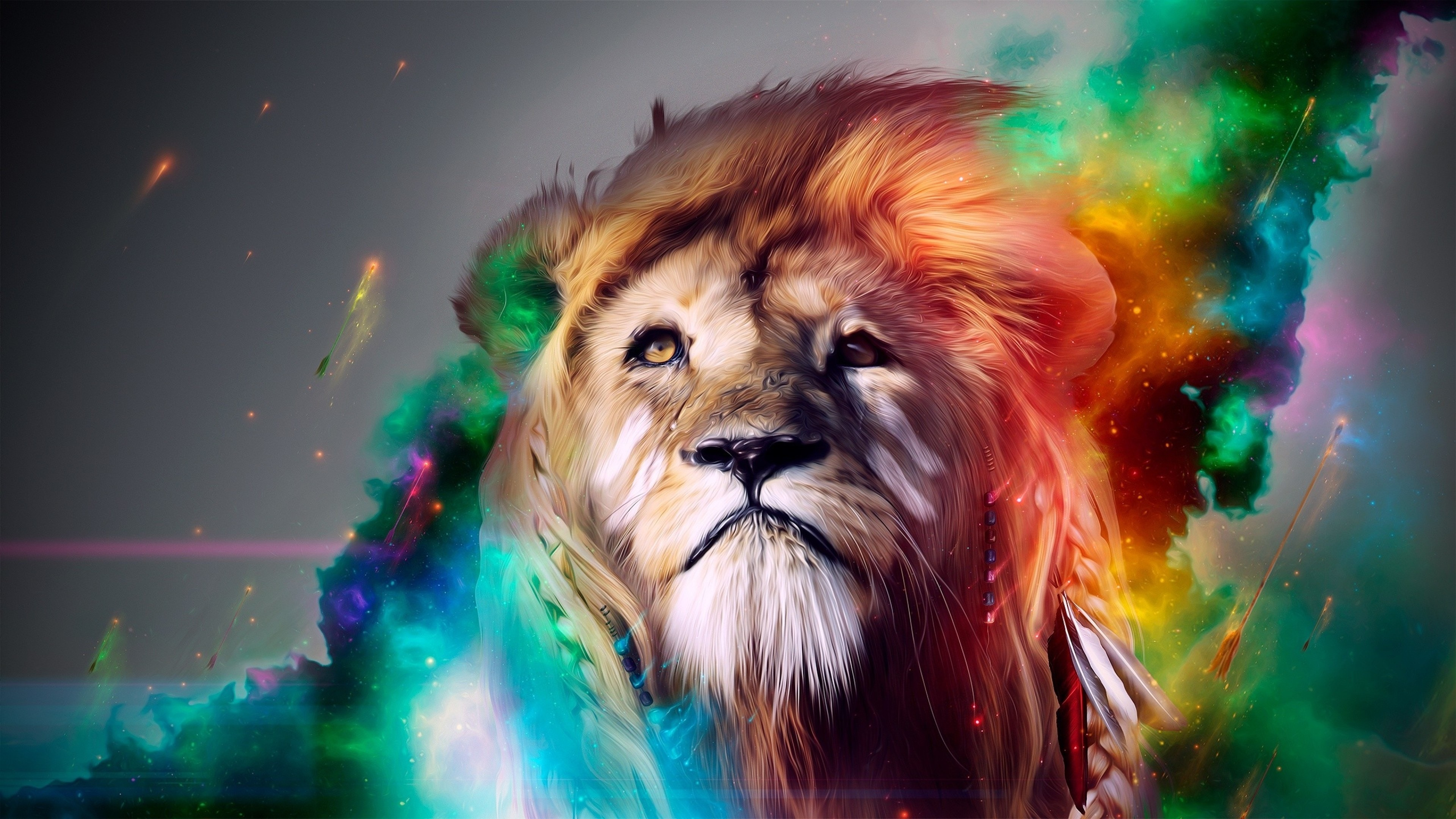 3840x2160 Preview wallpaper lion, big cat, face, smoke, colored