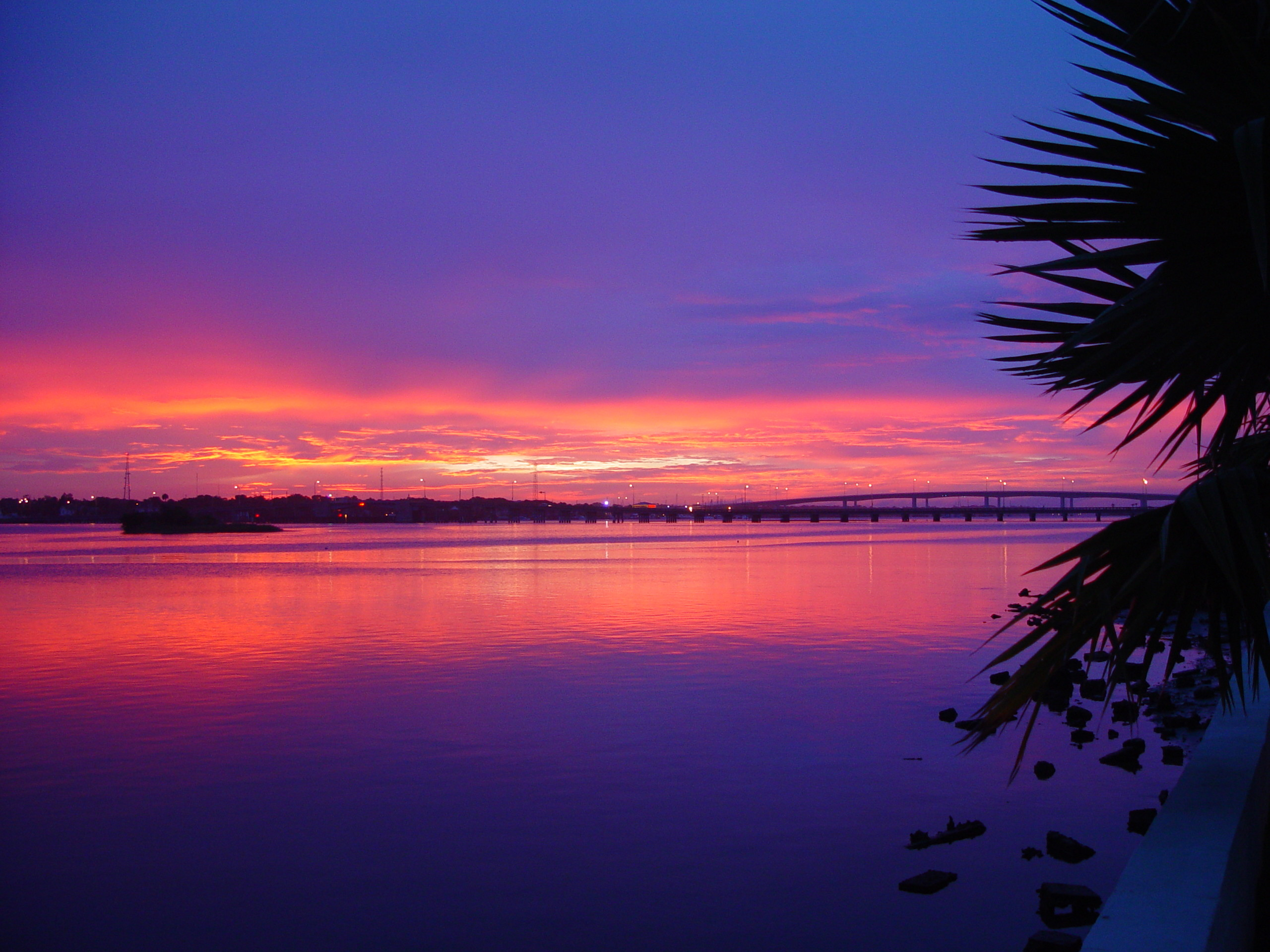 2560x1920 Photo of a beautiful sunset over the Halifax River with a blue, orange,  red, and purple sky in Daytona Beach, FL among the palm trees.