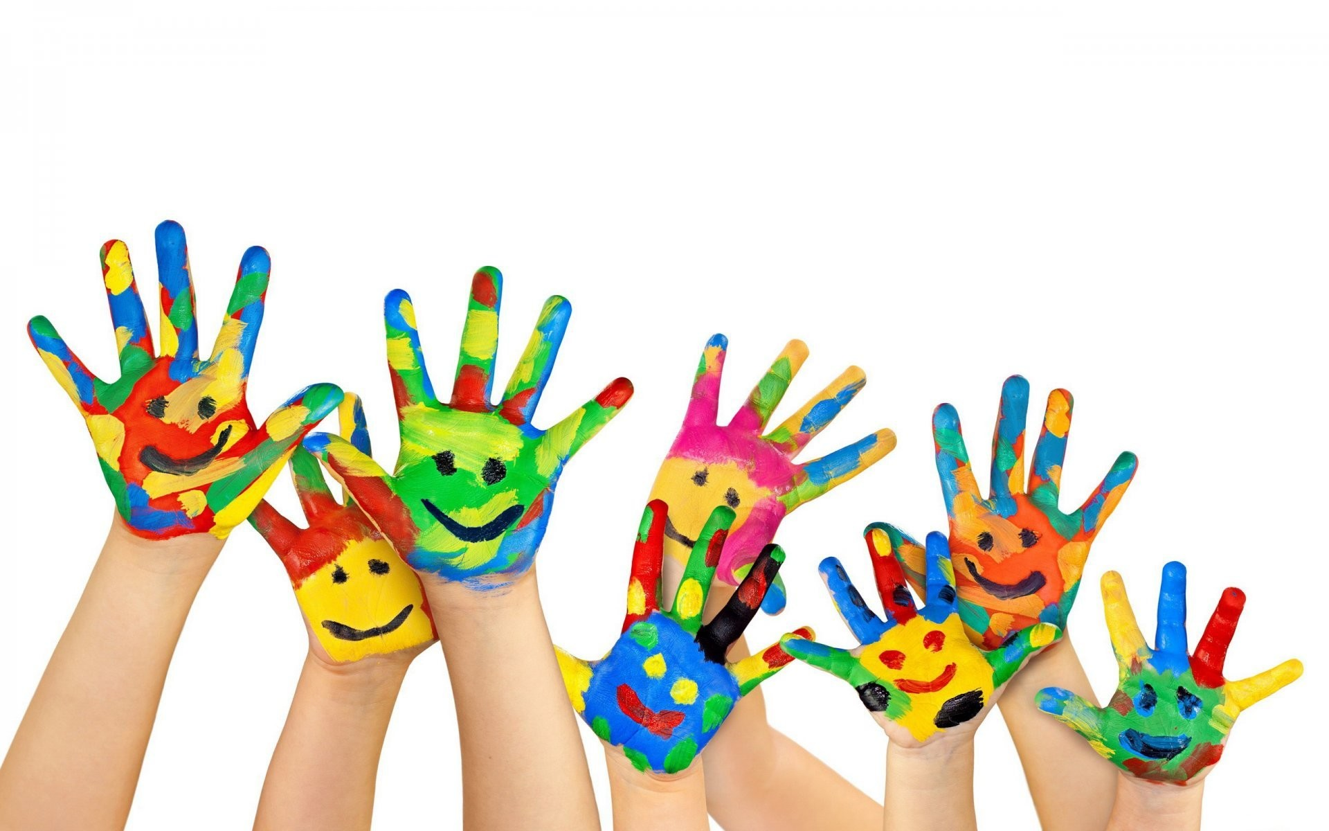 1920x1200 white background hands palm fingers paint flowers smile children childhood