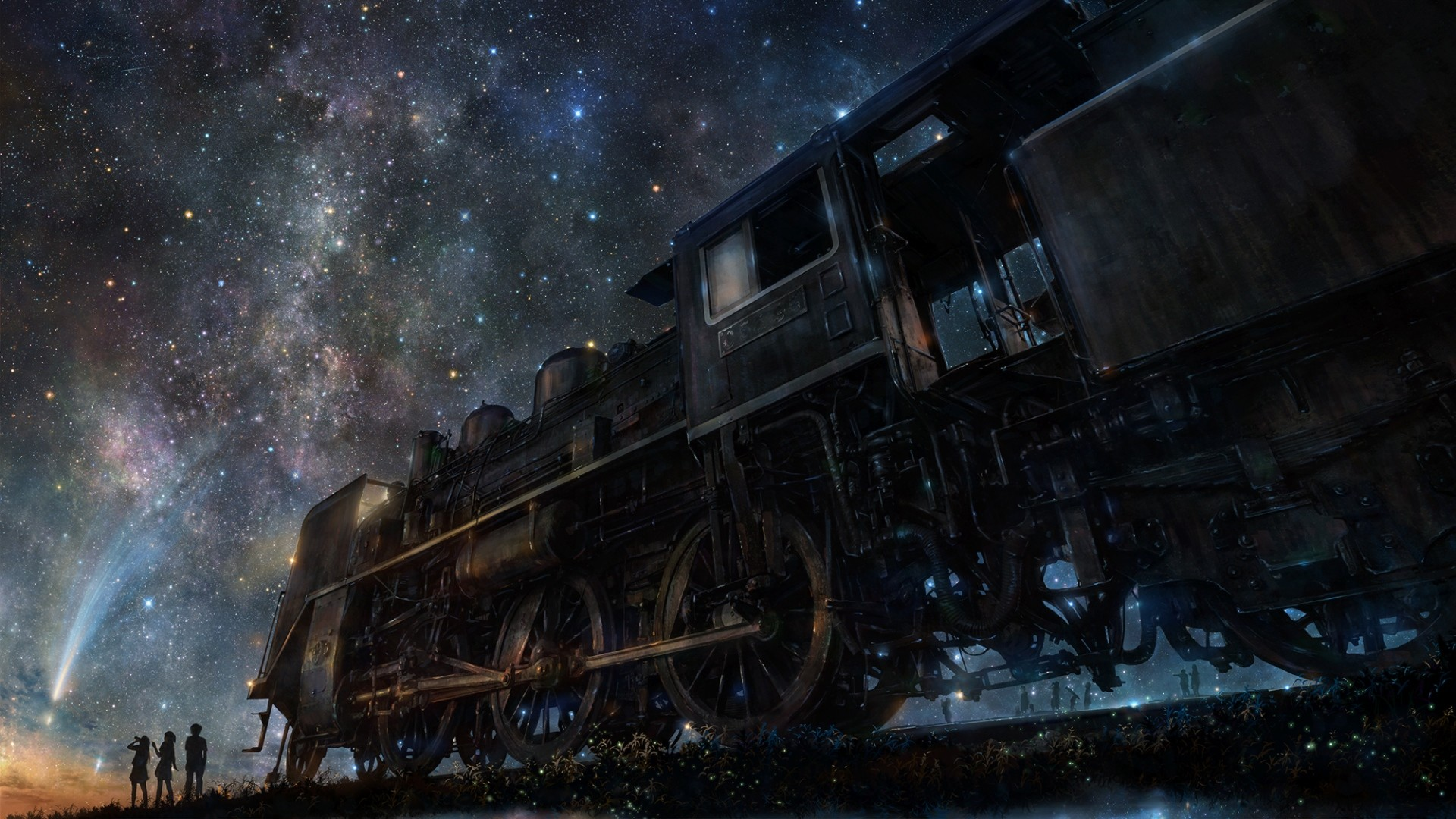 1920x1080 Preview wallpaper iy tujiki, art, night, train, anime, starry sky