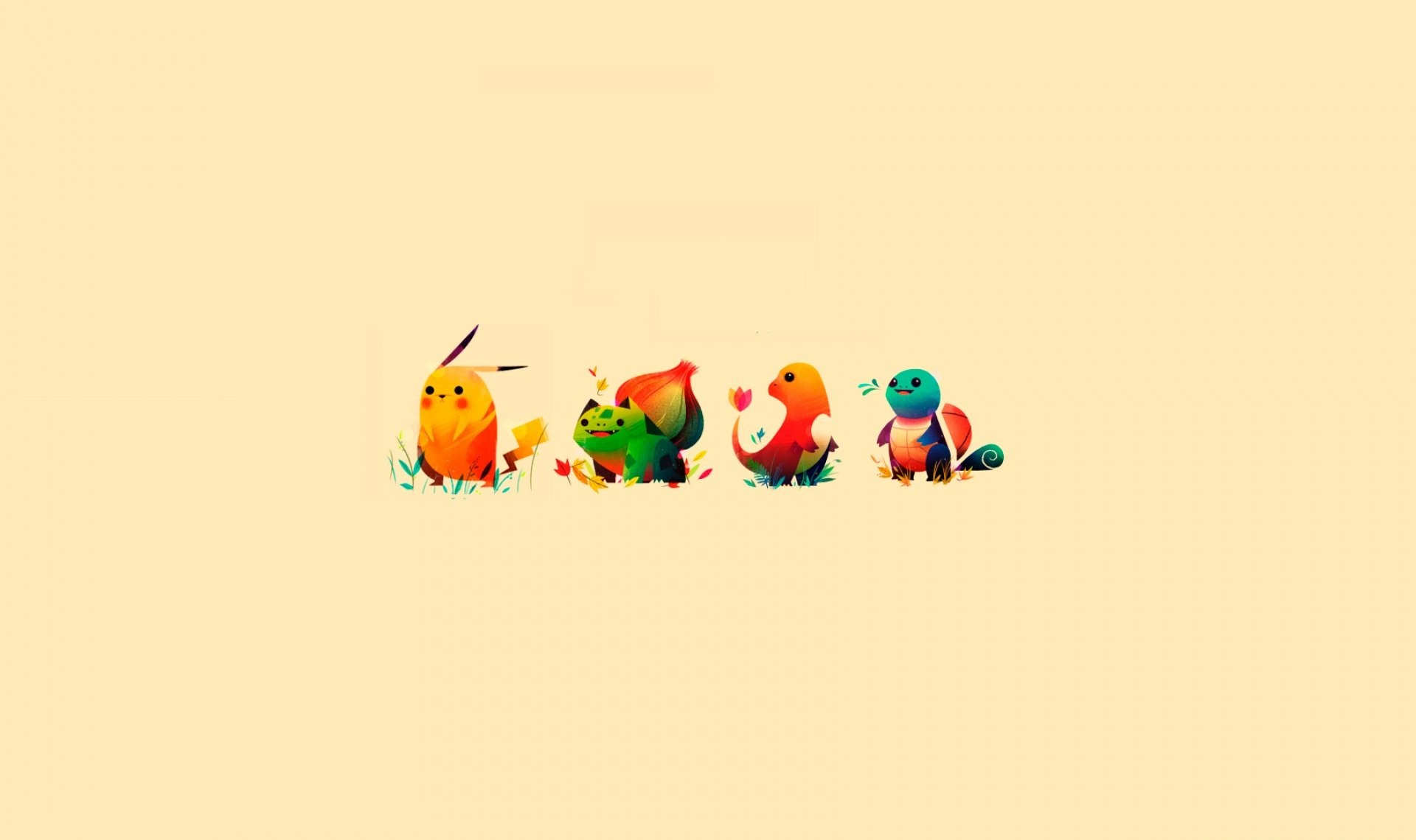1920x1140 Pokemon Bulbasaur Pikachu Charmander Squirtle; black background ...