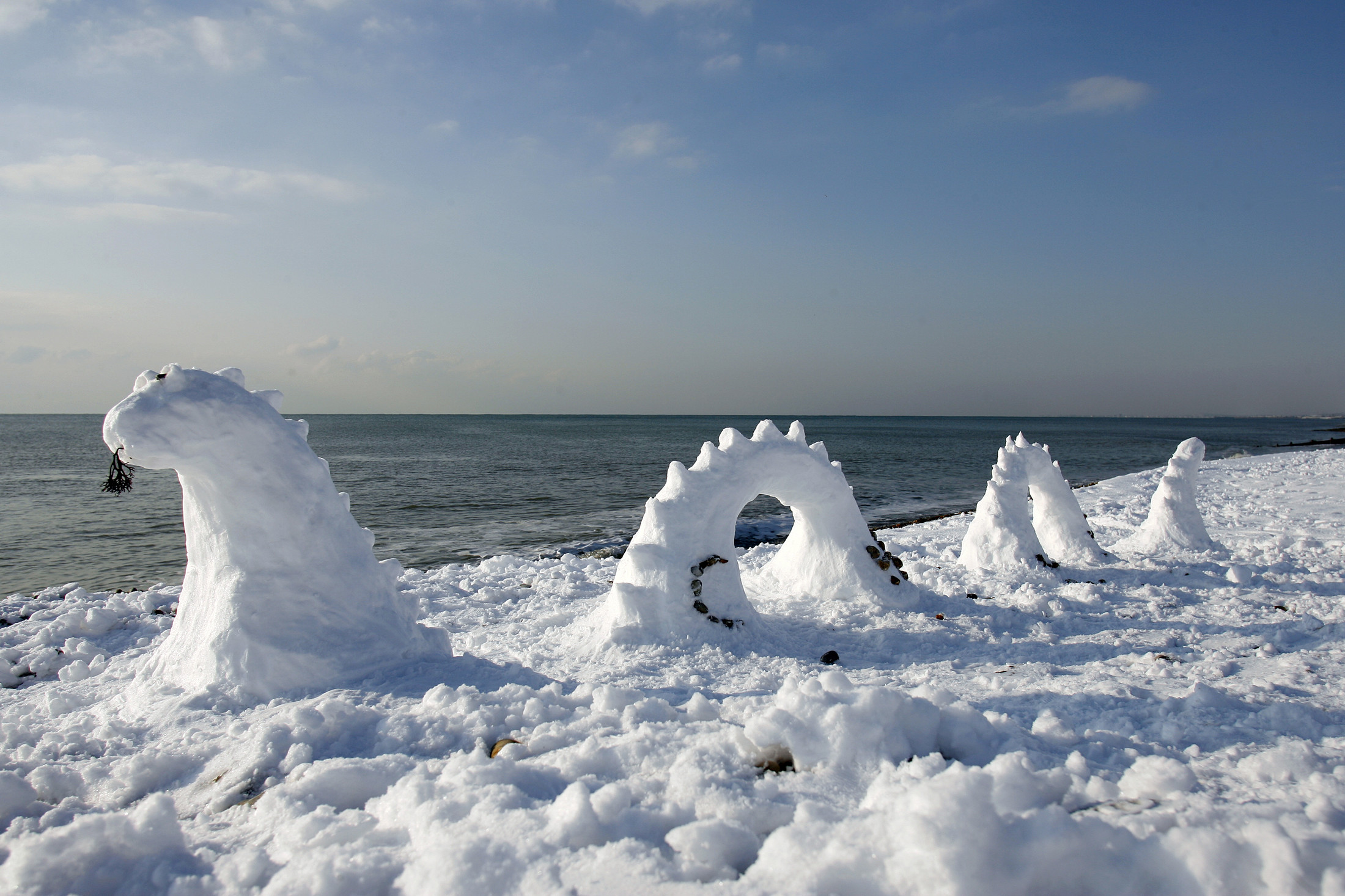 2200x1467 A snowy model of the Loch Ness Monster is one of the ways the monster is
