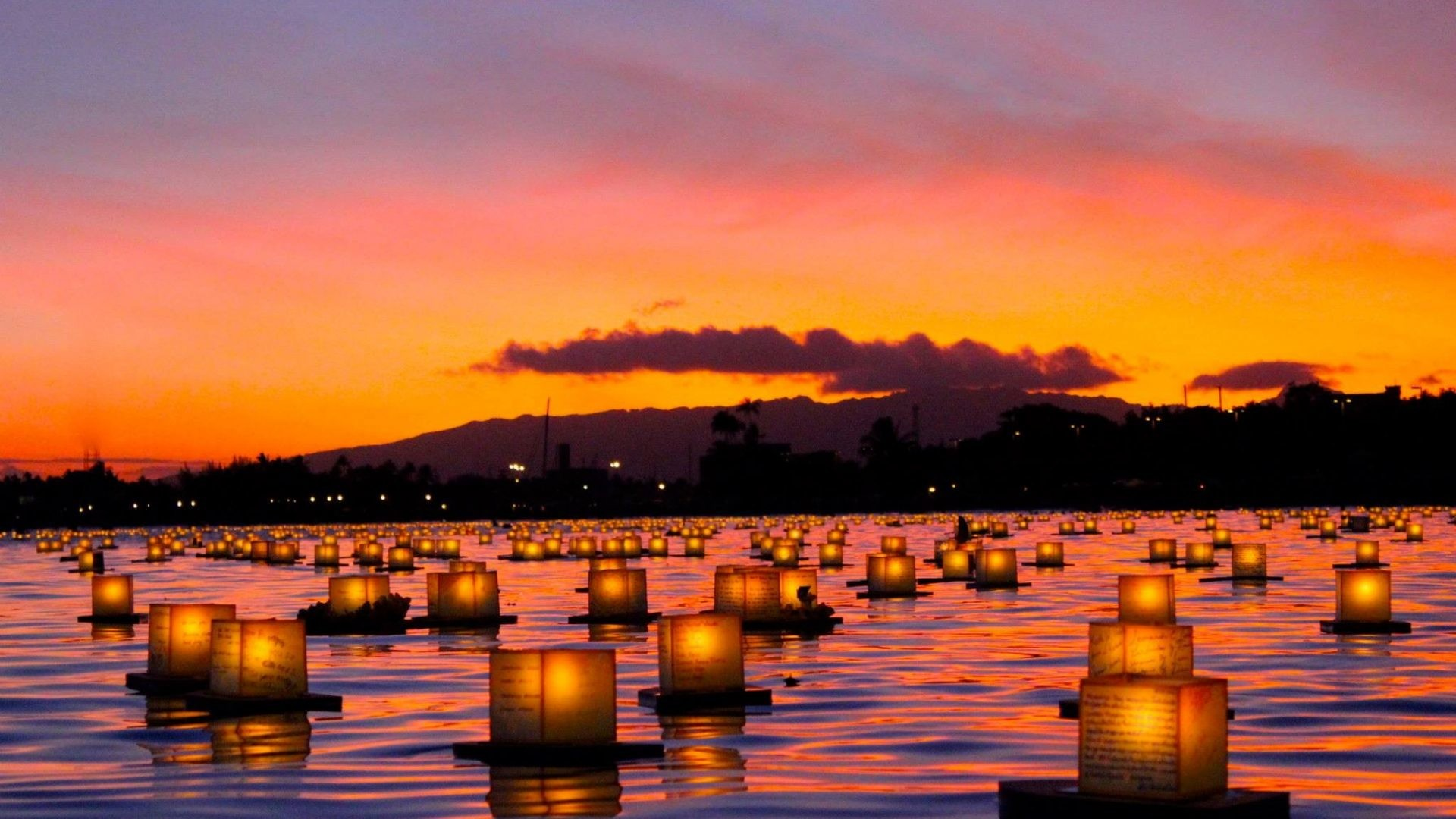 1920x1080 Island Tag - Candles Memory Wold Honolulu Beach Set Dusk Twilight Sun Oahu  Lit Polynesia Orange