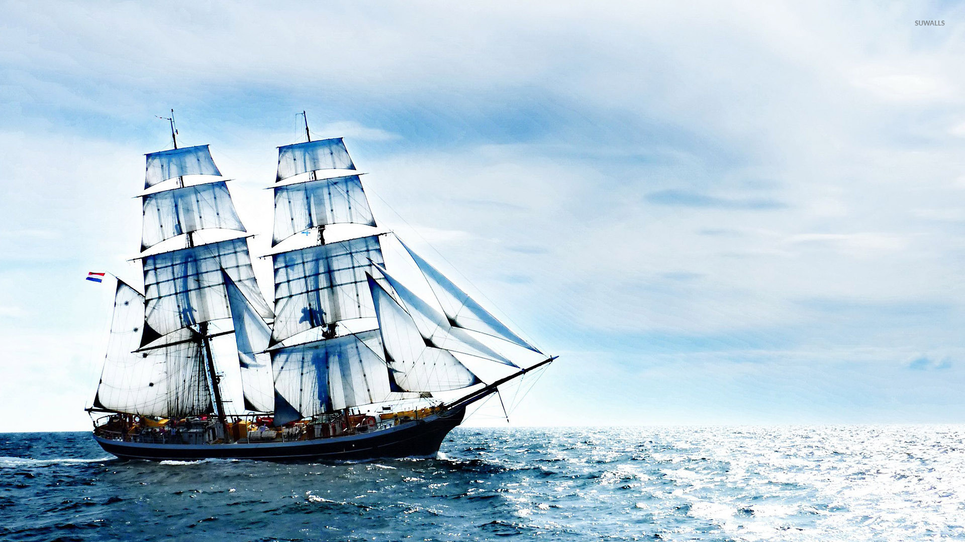 1920x1080 Sailing ship on the sea wallpaper