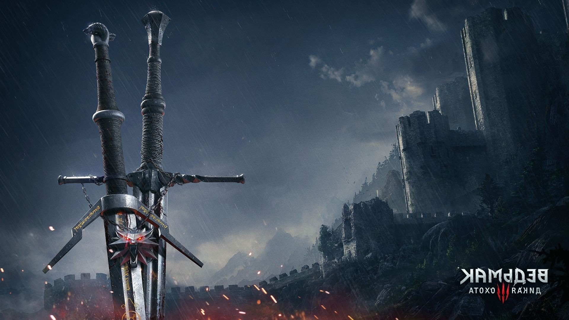 1920x1080 Wallpaper Geralt the corpse the Witcher swords The Witcher