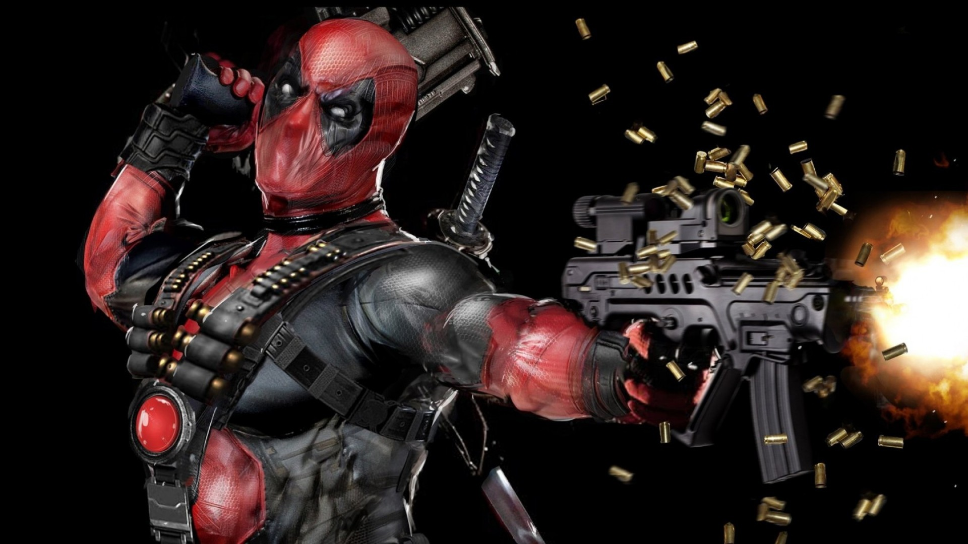 1920x1080 Download Wallpaper  Deadpool, Mask, Gun, Automatic Full .