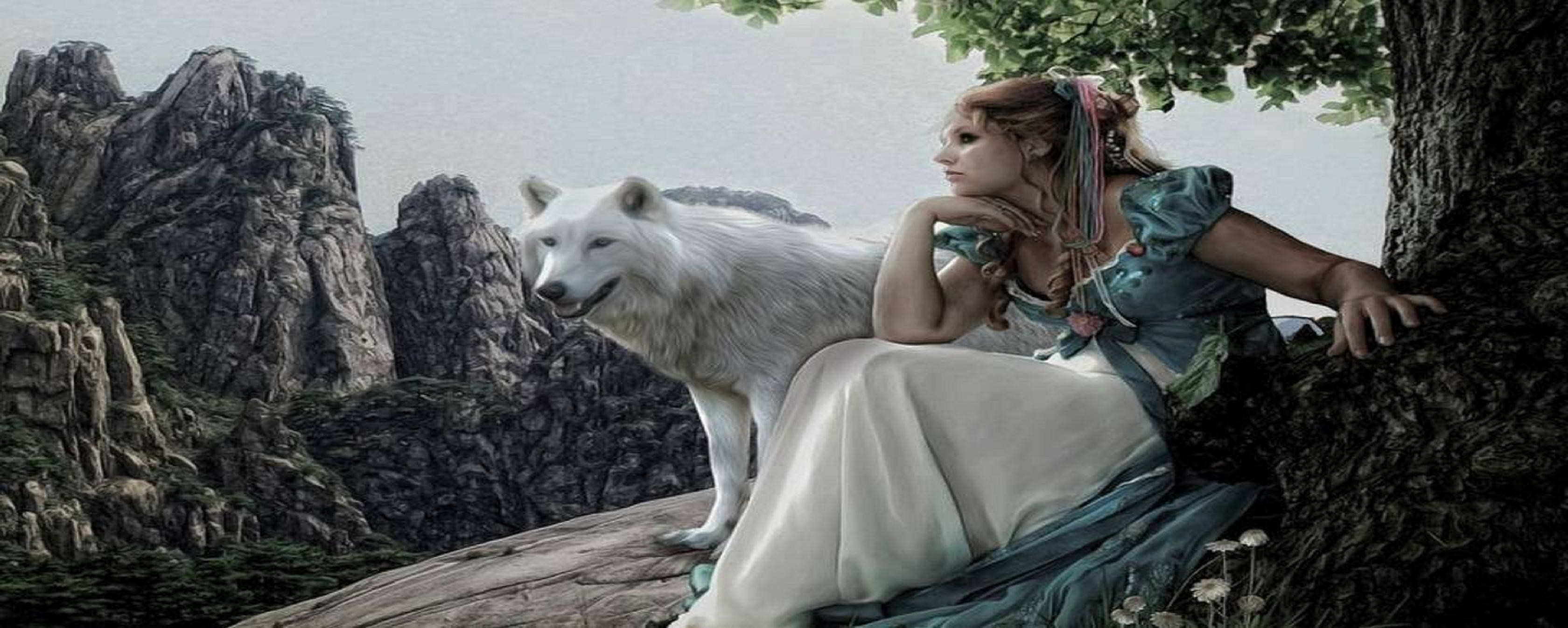 Res: 3360x1347, ... wolf girl wallpaper - photo #25 ...