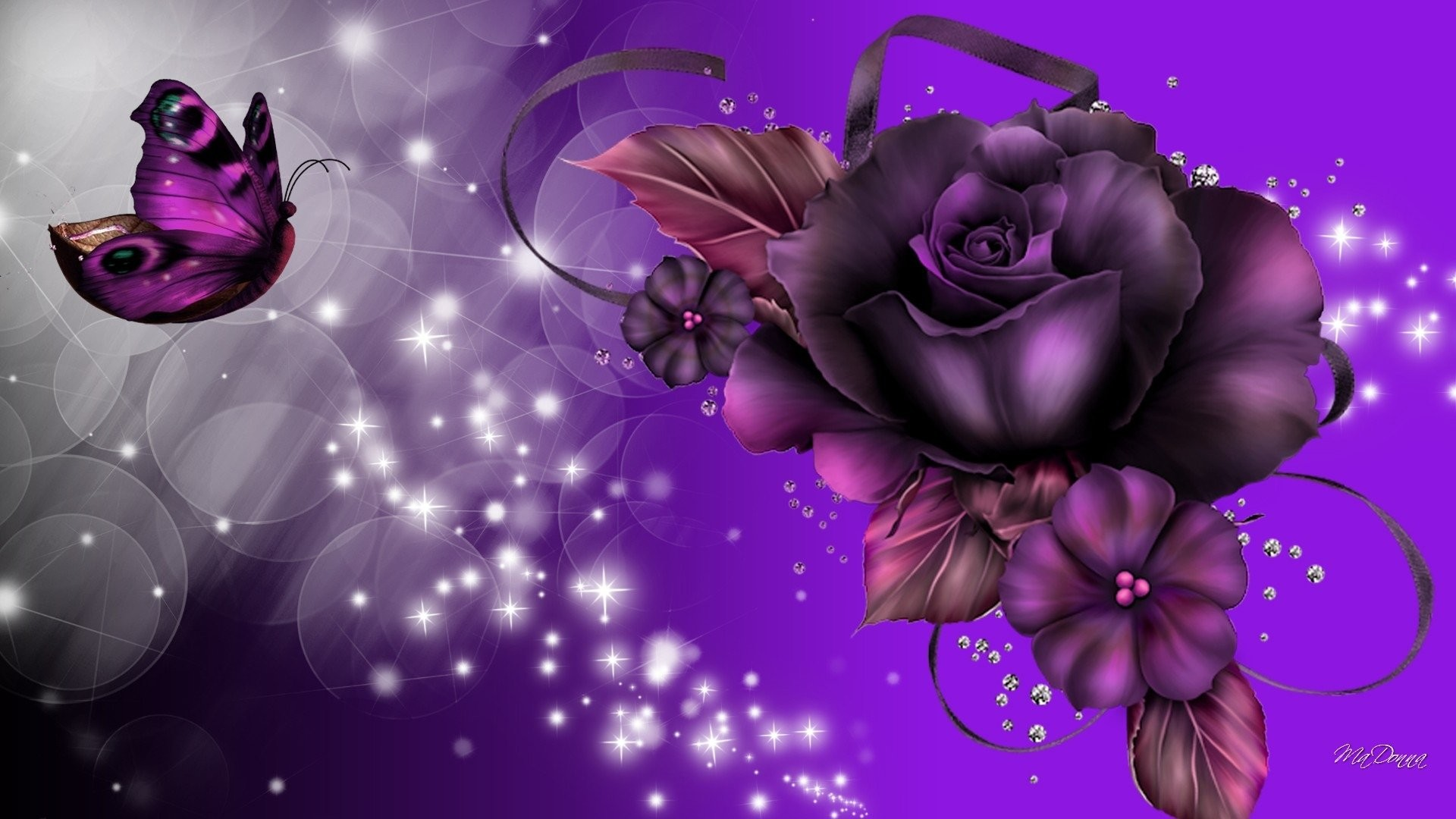 1920x1080 Fantasy - Artistic Sparkles Butterfly Purple Rose Wallpaper