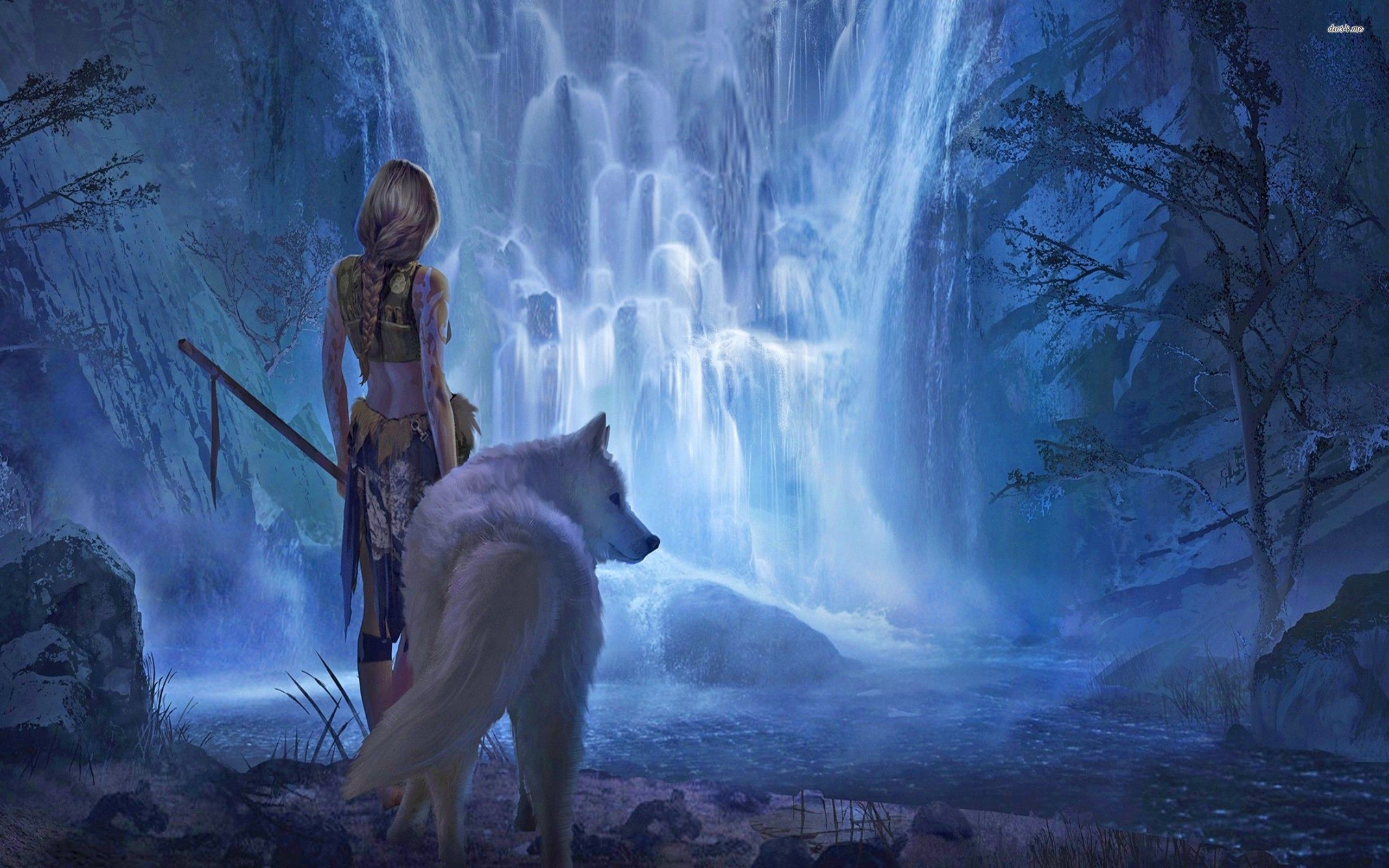 2560x1600 ... Girl with a white wolf wallpaper  ...