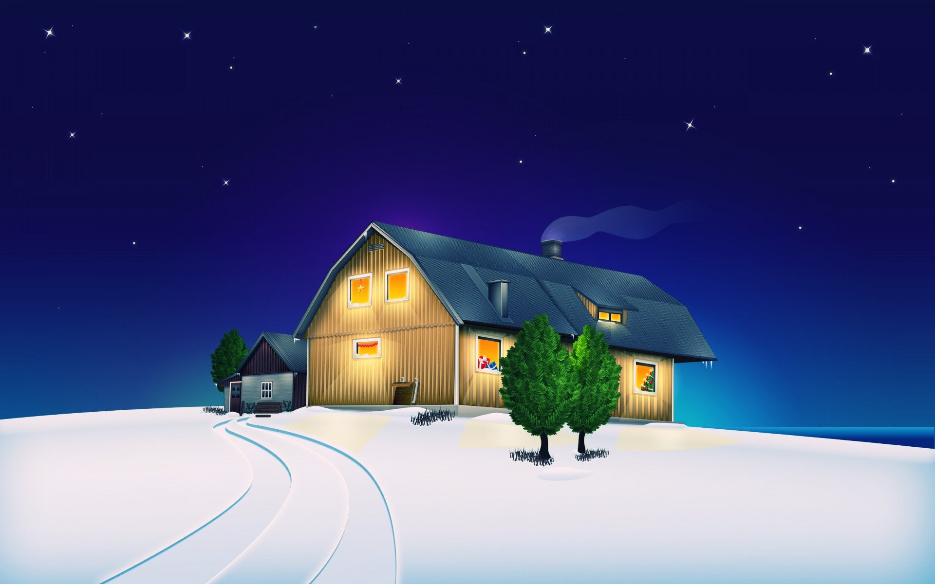 1920x1200 Animated Christmas House
