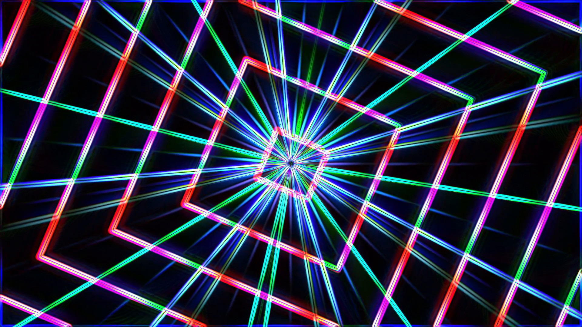 1920x1080 Neon Lights Squares Tunnel Star Background Loop