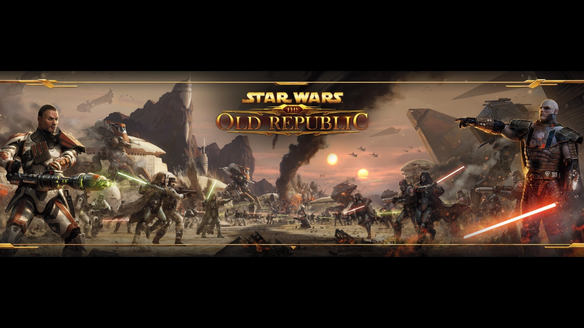 1920x1080  Wallpaper star wars the old republic, battle, gun, lightsabers,  game
