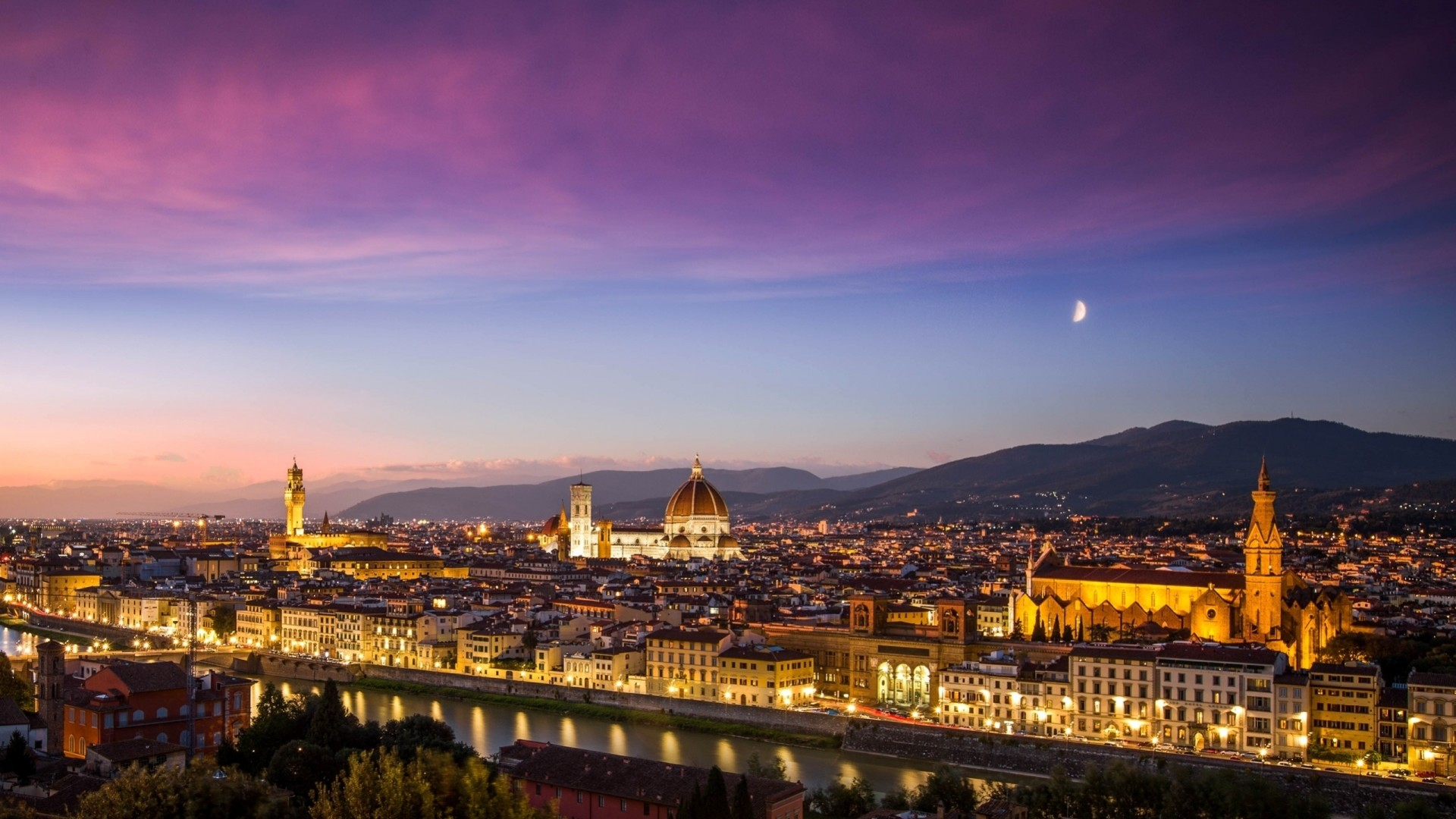 1920x1080 florence italy hd wallpaper Florence Italy Evening Lights 4K Uhd Background  Wallpaper - HD Wallpapers