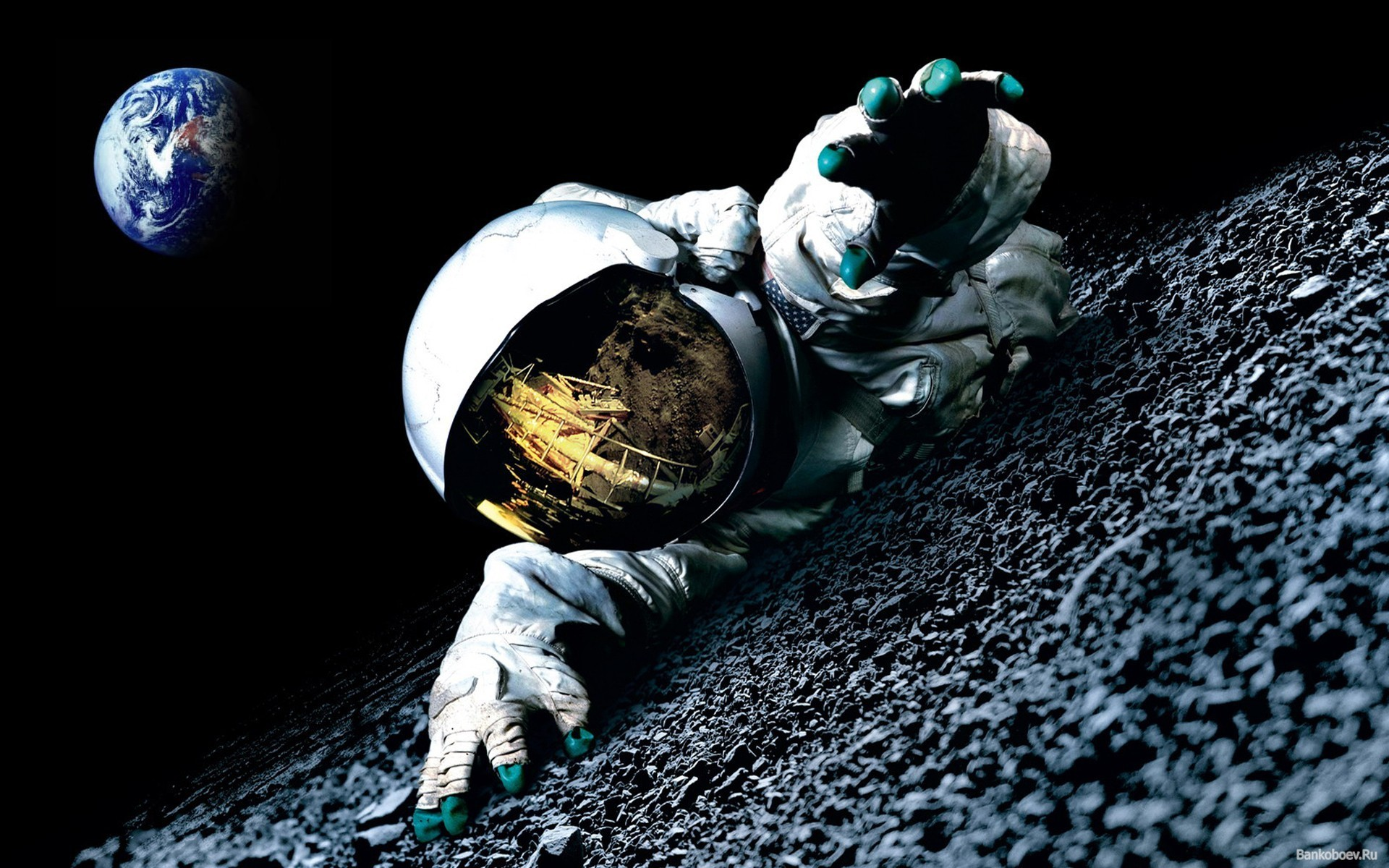 1920x1200 Astronaut In The Moon Space HD Wallpaper