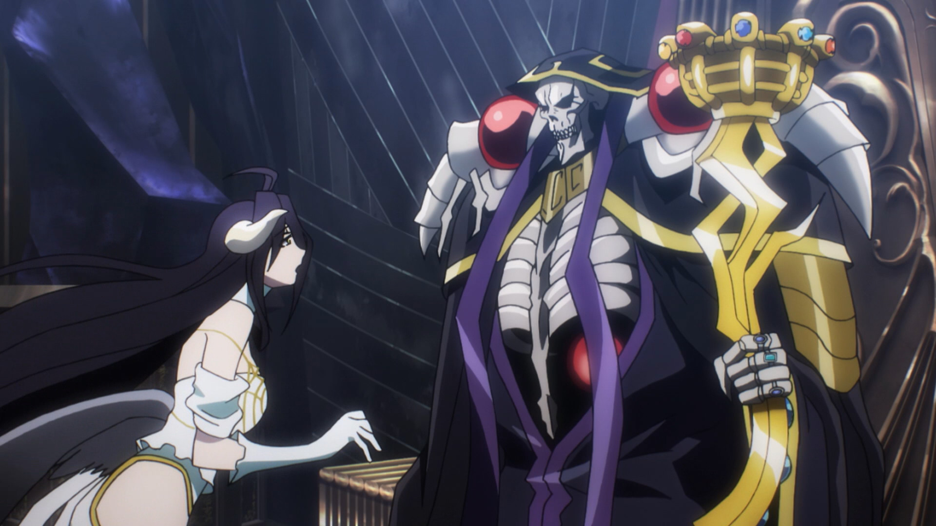 1920x1080 Albedo and Ainz Ooal Gown, Ainz Ooal Gown (Right) with Albedo (Left