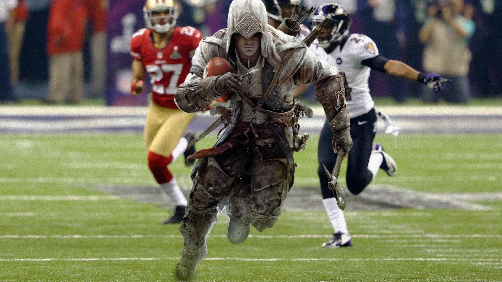 1920x1080 American Football Assassins Creed 3 Connor Kenway Funny Sports