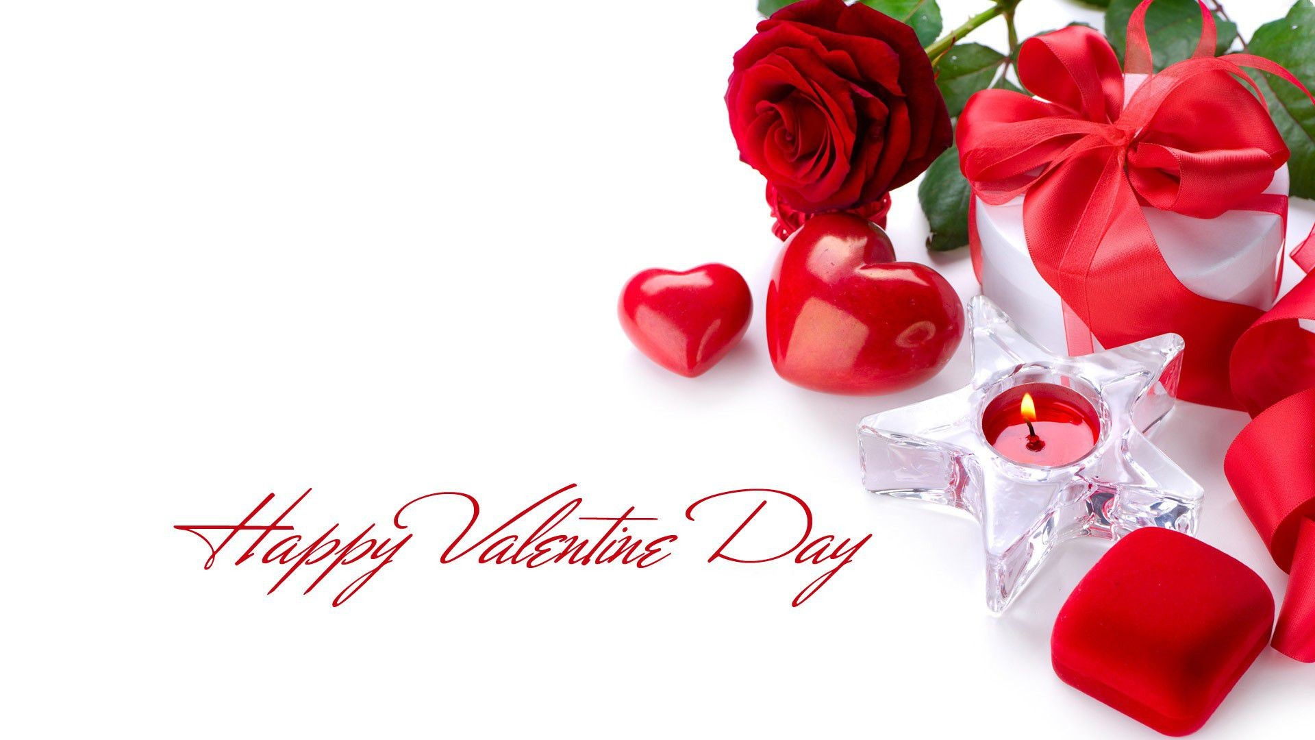 1920x1080 happy valentines day red rose with candle hd wallpaper
