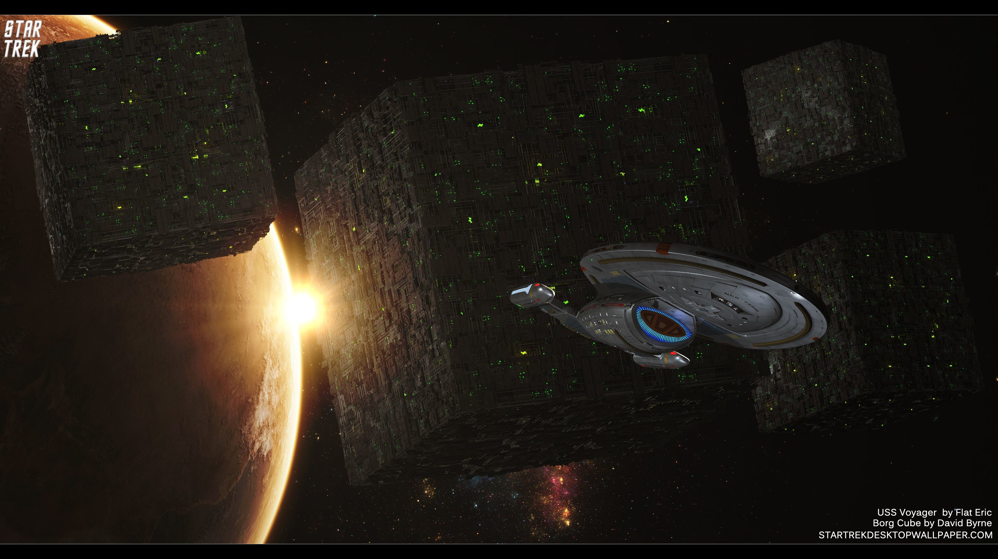 3300x1850 Star Trek Borg Cube And USS Voyager - free Star Trek computer desktop  wallpaper, pictures, images.