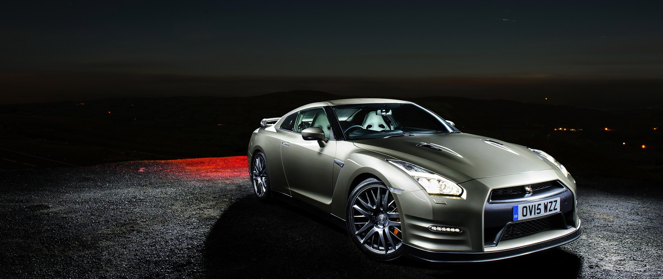 2560x1080 Preview wallpaper nissan, gt-r, side view, night