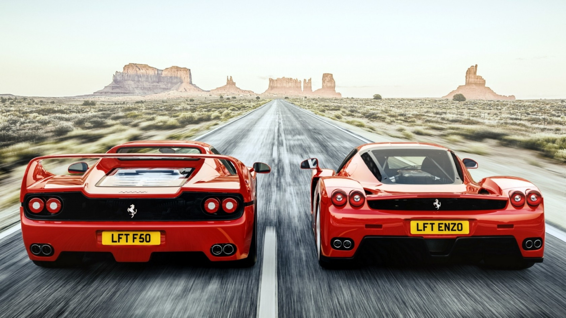 1920x1080  Wallpaper ferrari, f50, enzo, rear view, speed, road
