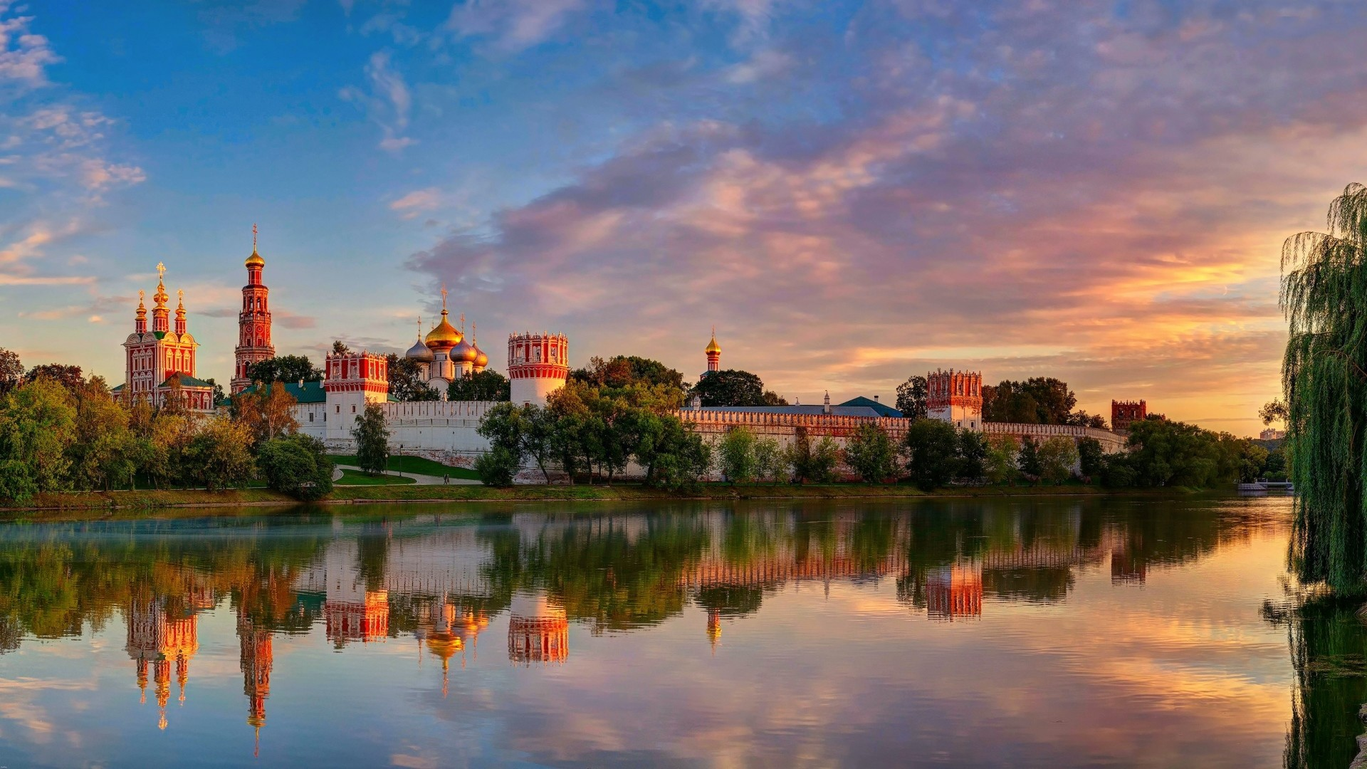 1920x1080 Preview wallpaper moscow, novodevichy convent mother of god of smolensk,  summer