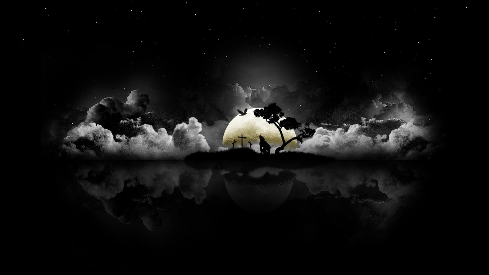 1920x1080  Dark Night Black Wolf Howling Clouds Moon Halloween Wallpaper .