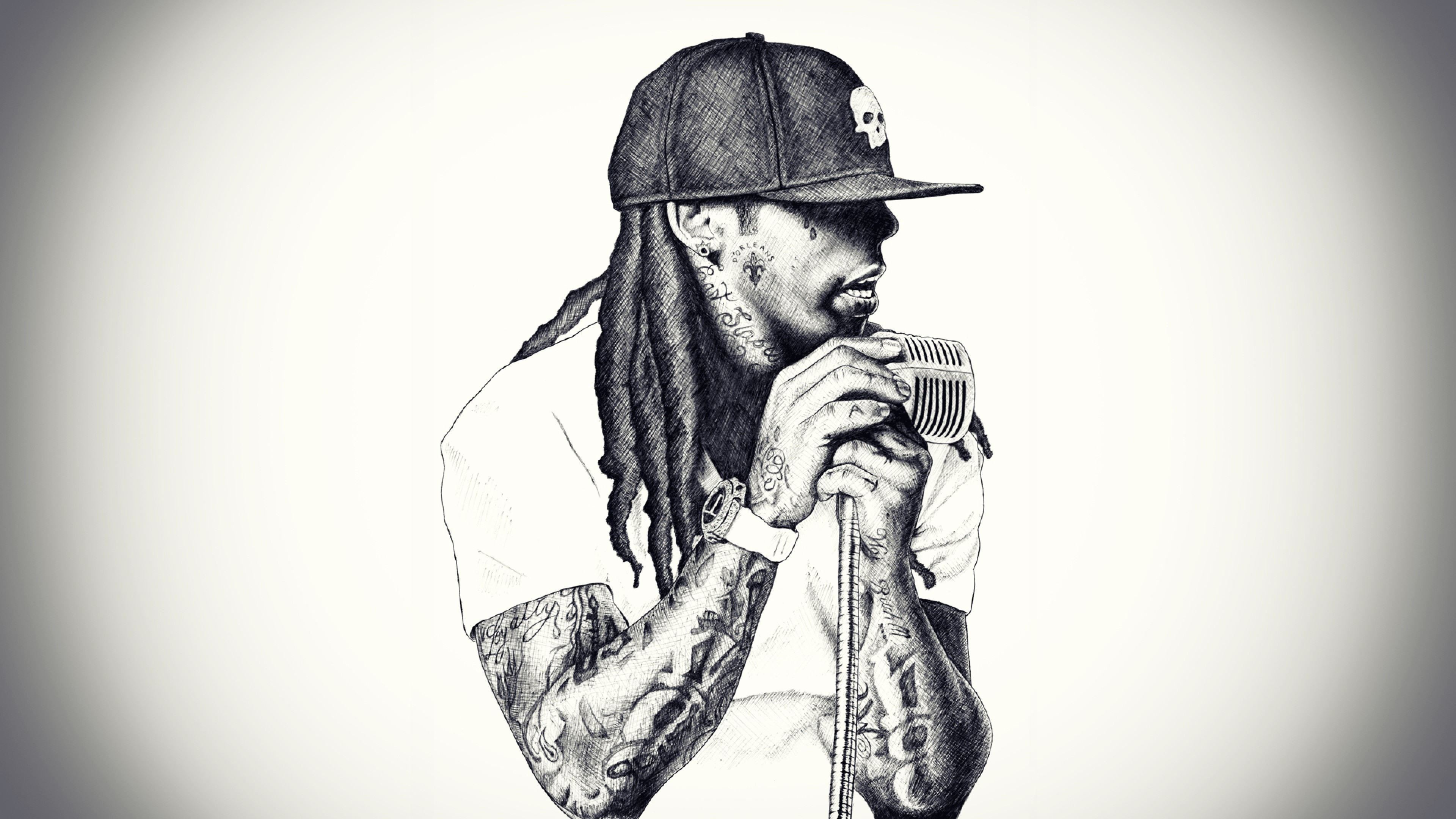 3840x2160 Preview Wallpaper Lil Wayne Rap Singer Microphone Baseball Cap Dreadlocks