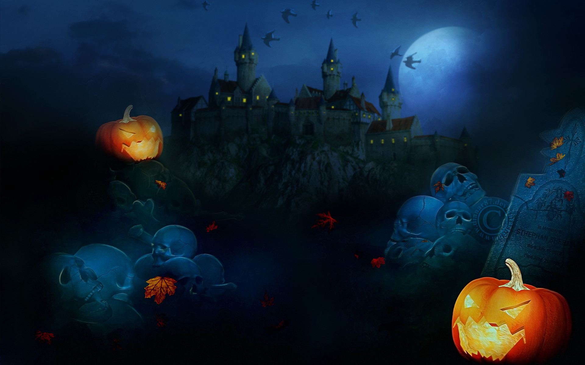 1920x1200 Scary Halloween 2012 HD Wallpapers | Pumpkins, Witches, Spider Web .