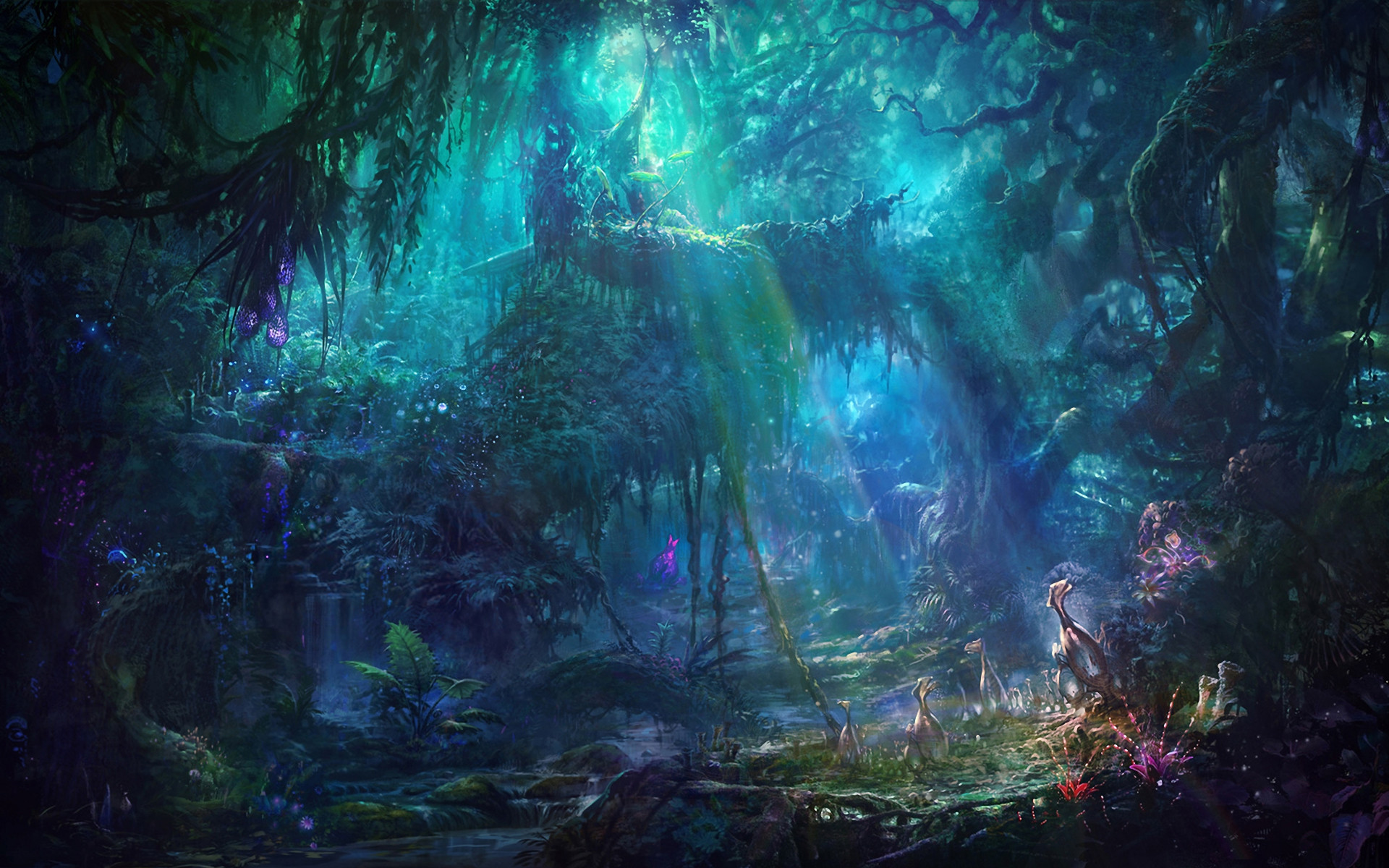 1920x1200 Fantasy Forest Landscape Free Wallpaper