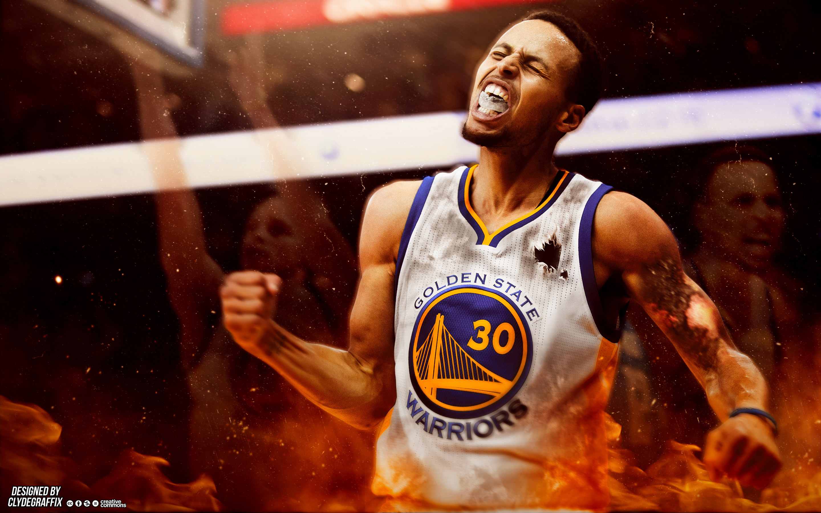 2880x1800 Stephen Curry On Fire  Wallpaper