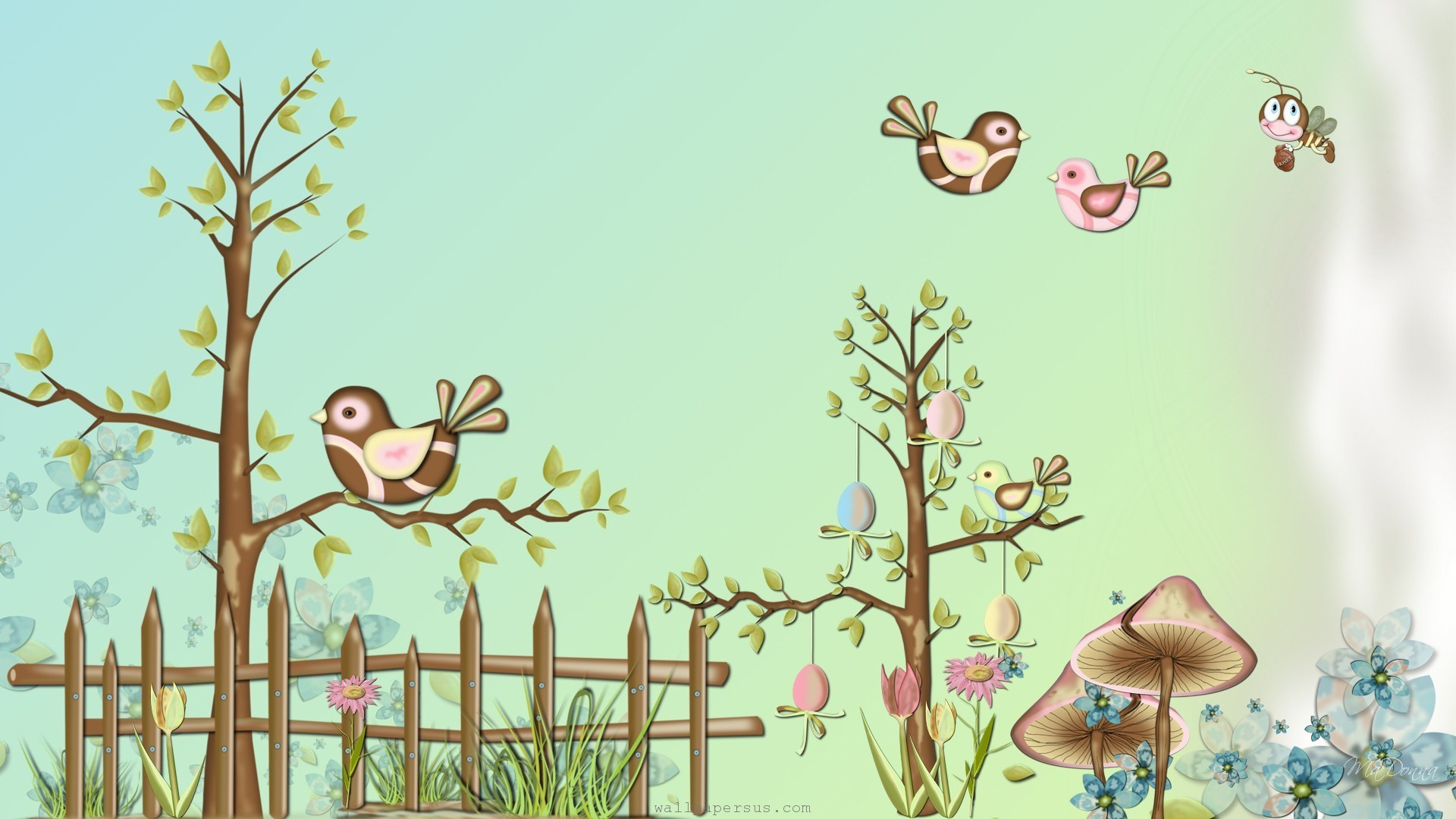 1920x1080 Spring Birds And Flowers wallpaper