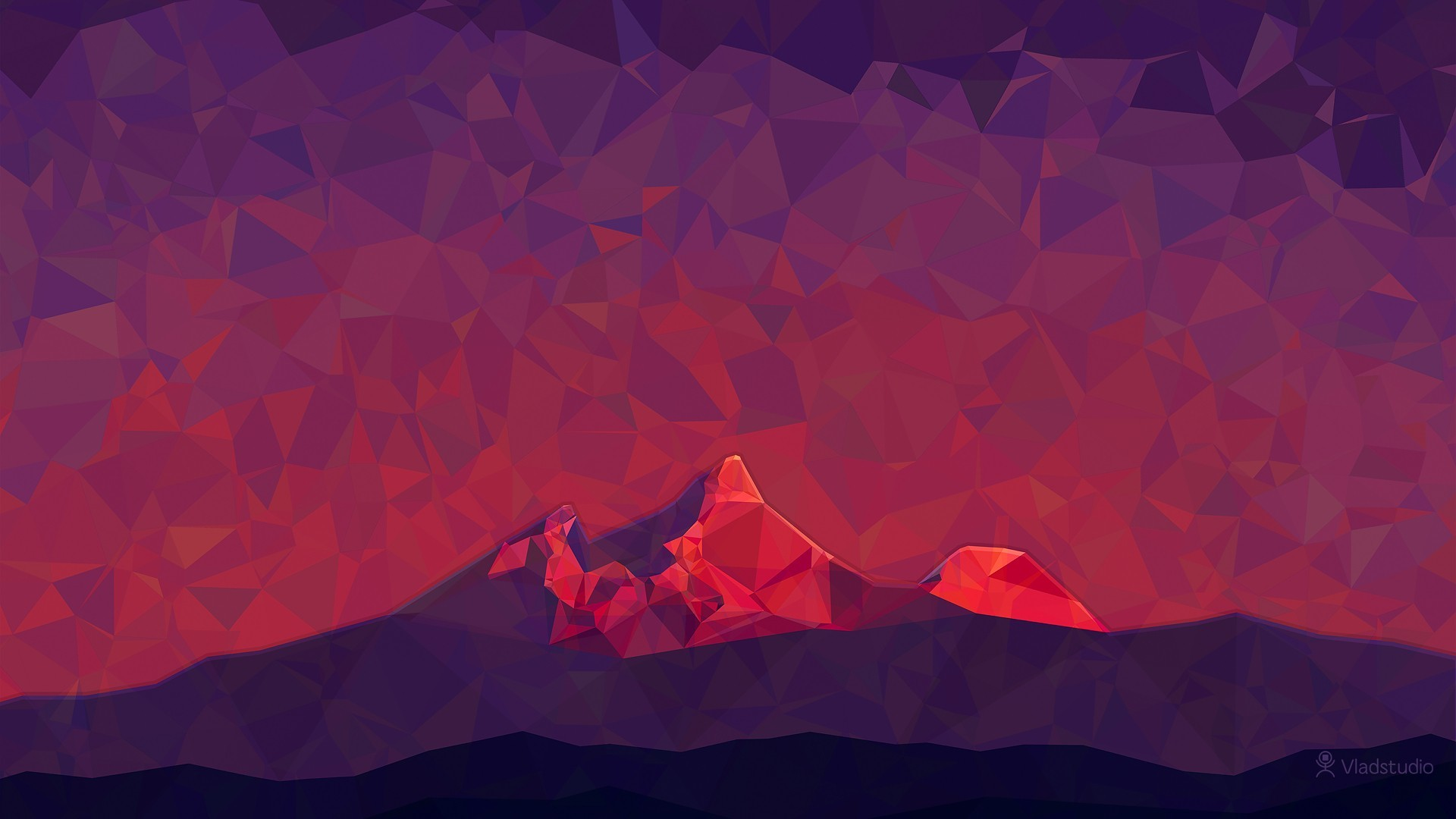 1920x1080 General  digital art low poly minimalism 2D triangle simple nature  mountains Vladstudio hills