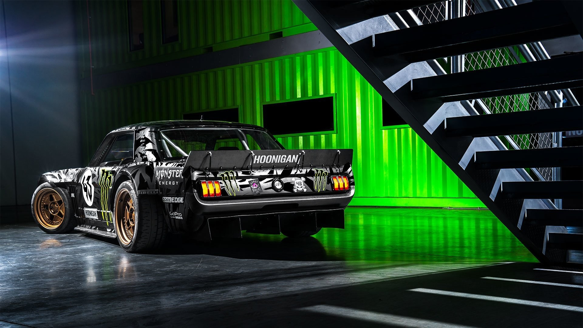 1920x1080 ford mustang rtr 1965 hoonicorn 845 hp gymkhana seven rear ken block  monster energy