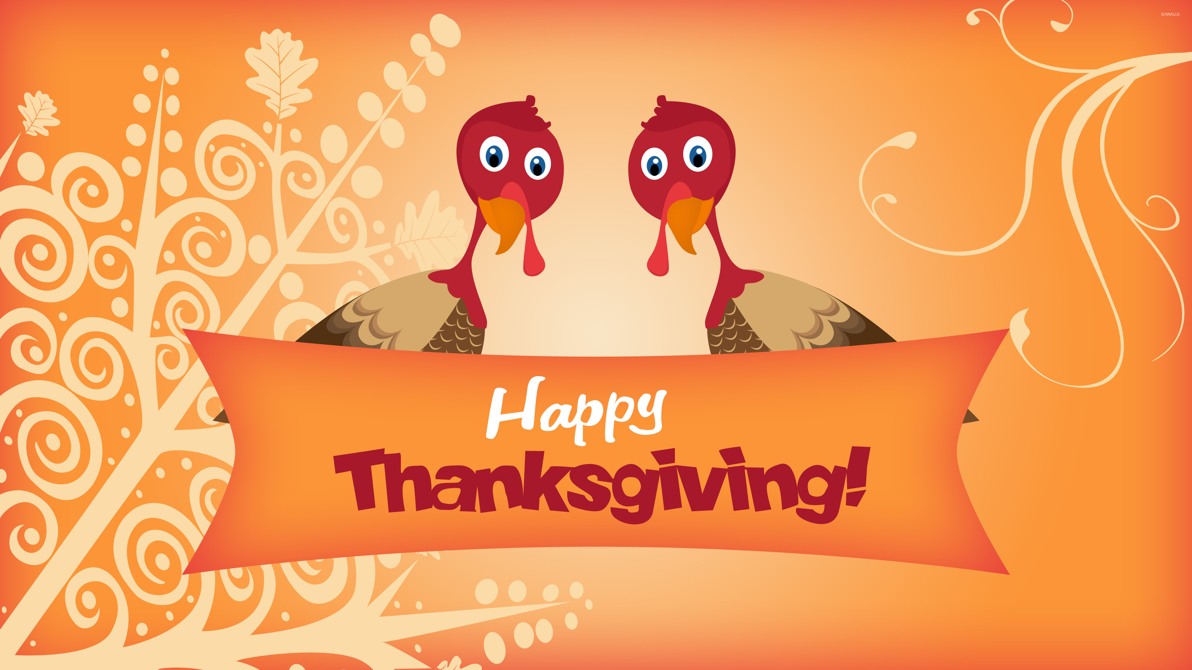 3840x2160 Two turkeys wishing you Happy Thanksgiving wallpaper  jpg