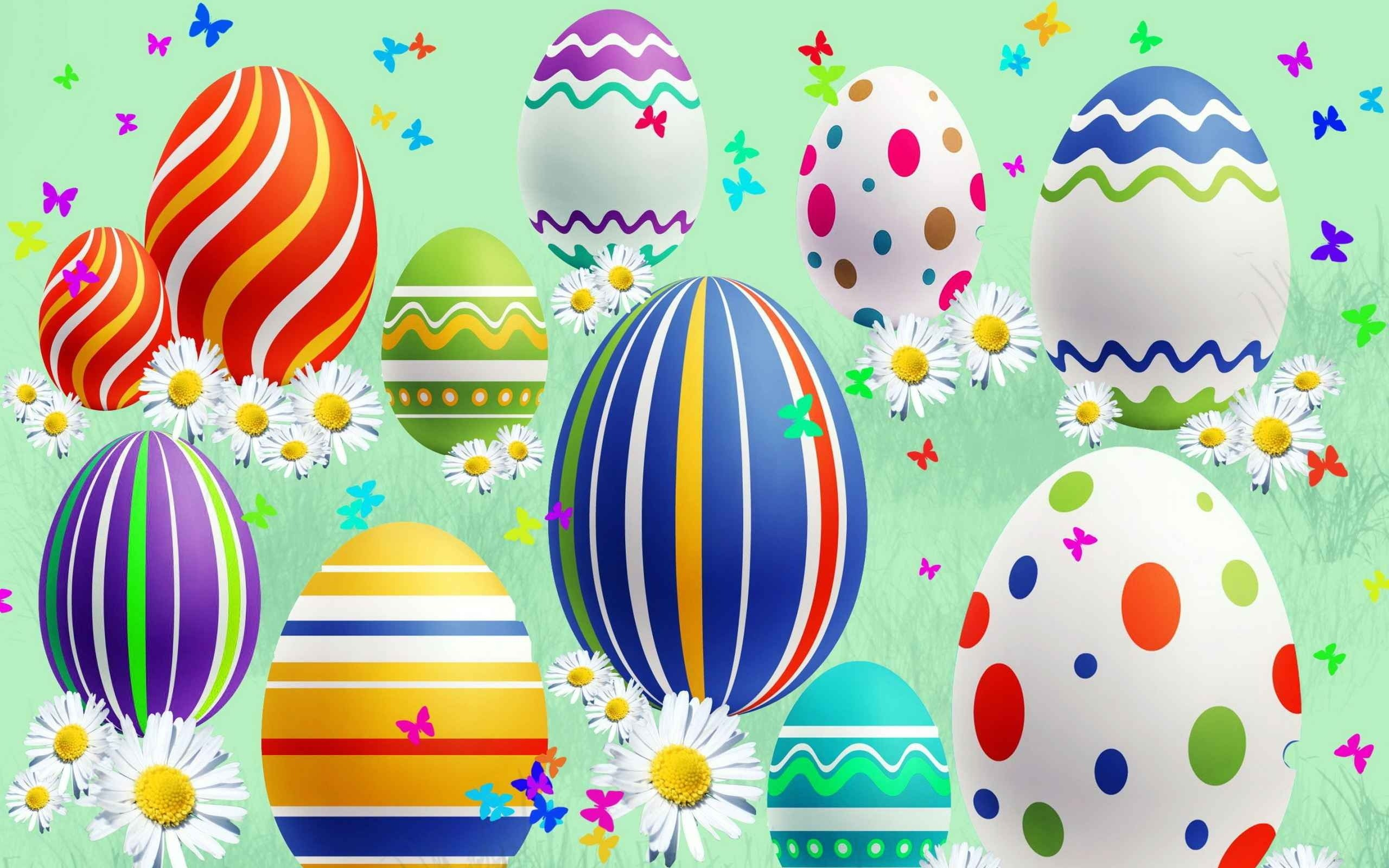 2560x1600 Vector Graphics, Hot Air Balloon, Easter Bunny, Illustration, Easter Egg  Wallpaper in