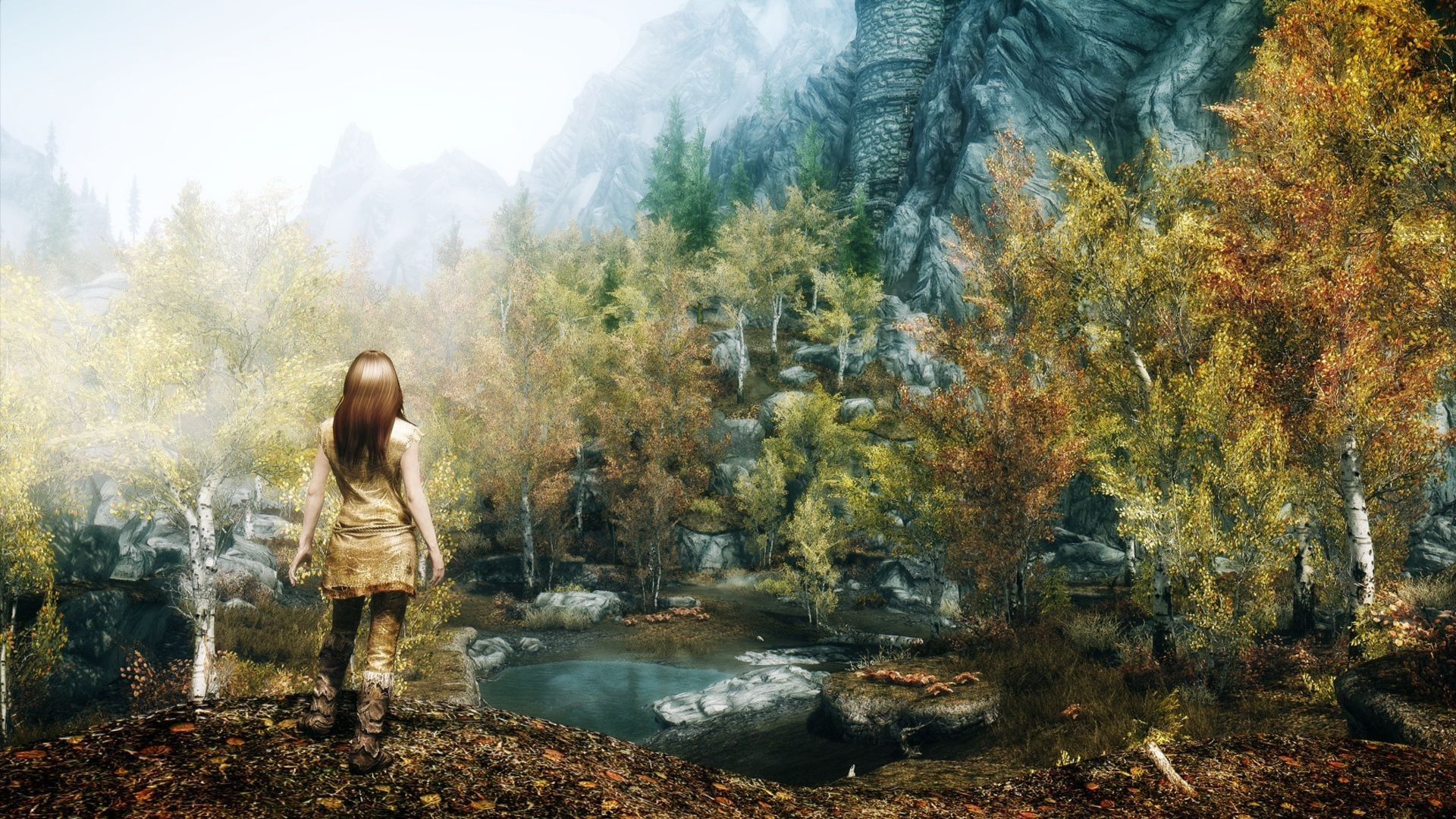 1920x1080 Download Wallpaper  Skyrim, Girl, Autumn, Trees Full HD .